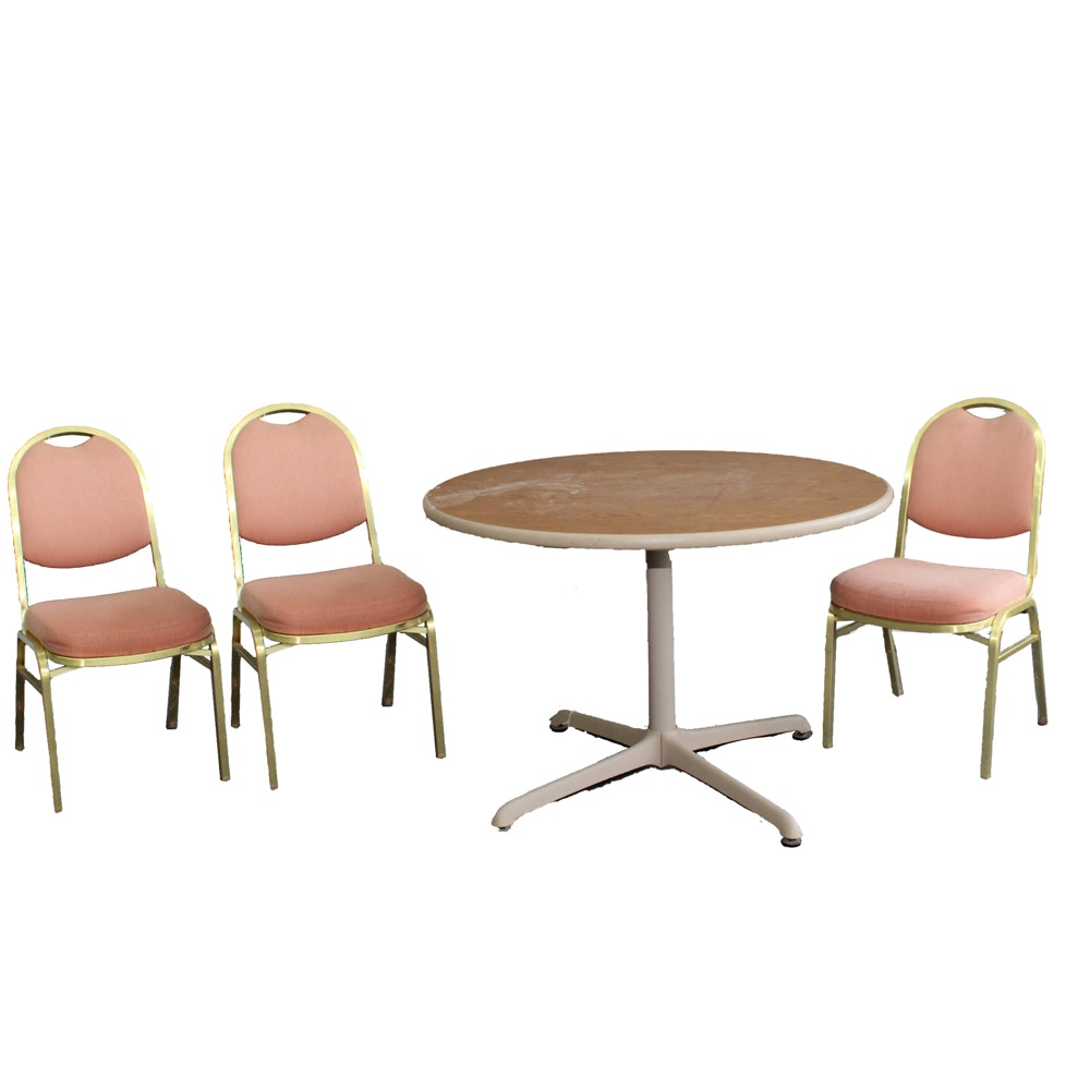 Wood Look Laminate Top Pedestal Table and Side Chairs