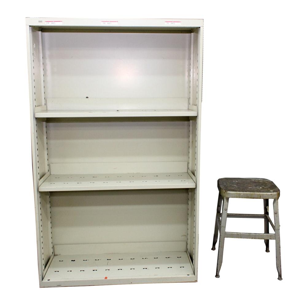 Beige Metal Shelves and Vintage Metal Stool