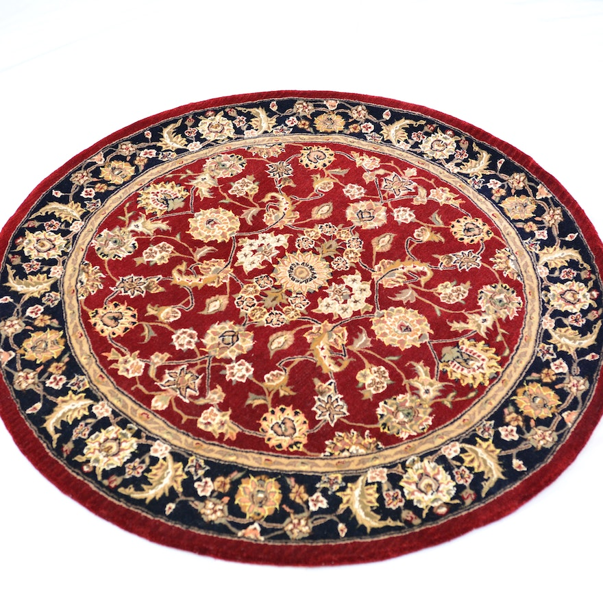 Persian Hand Woven Bakhtiari Style Wool Area Rug Ebth: Tufted Persian Design Wool And Silk Round Area Rug : EBTH