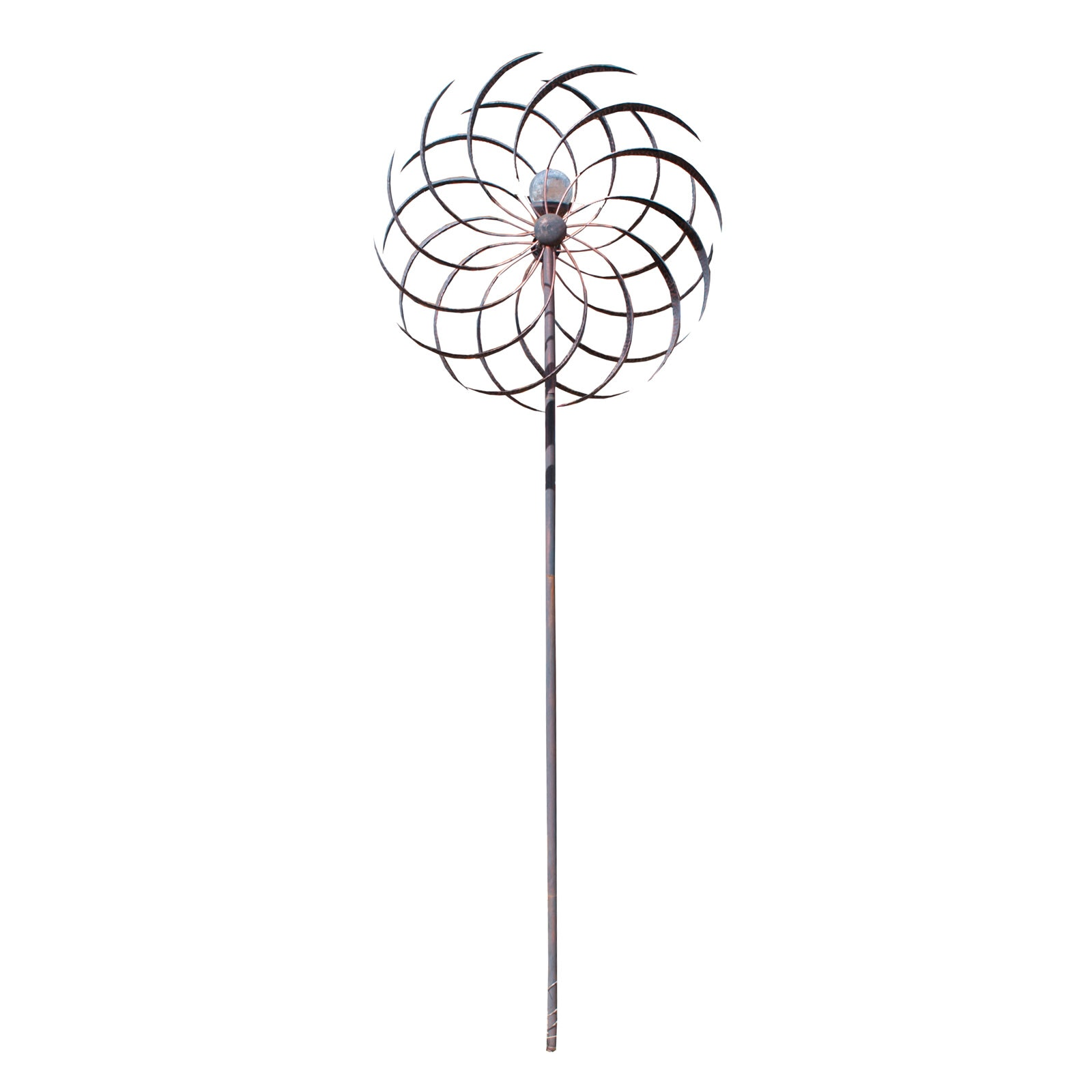 Tall Copper and Metal Garden Wind Catcher with Crackle Glass Globe
