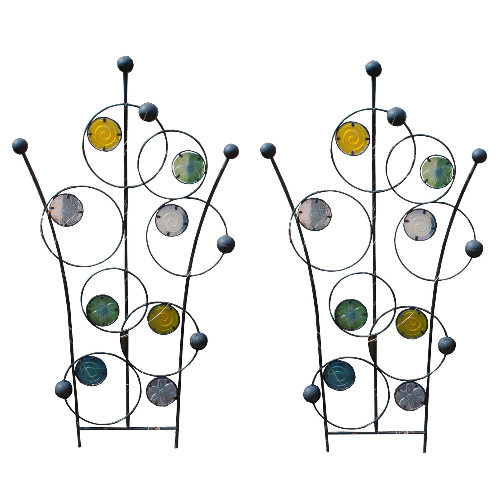 Pair of Colorful Glass and Metal Garden Trellis
