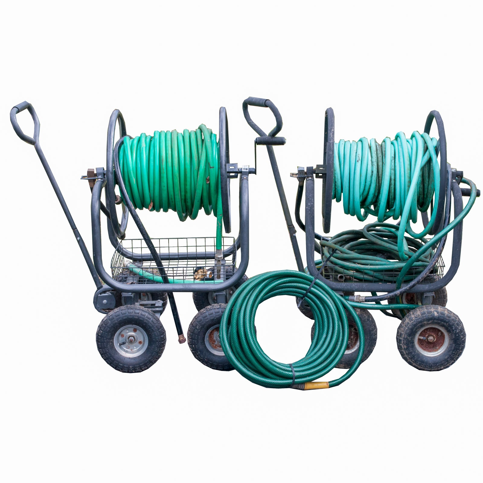 Pair of Water Hose Reel Carts by Rankam