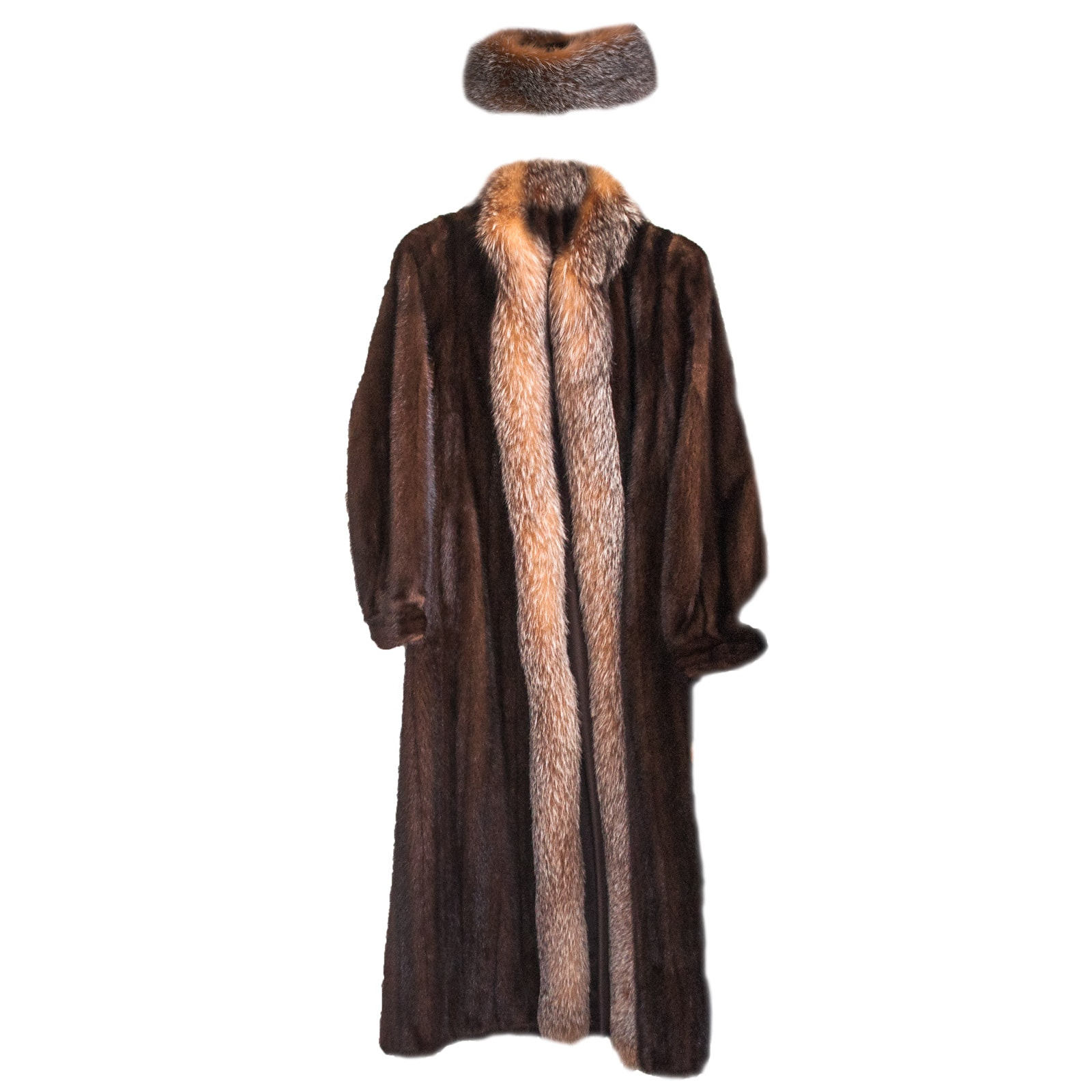 Kotsovos Furs Mahogany Mink Coat with Fox Fur Trim and Collar by Kotsovos