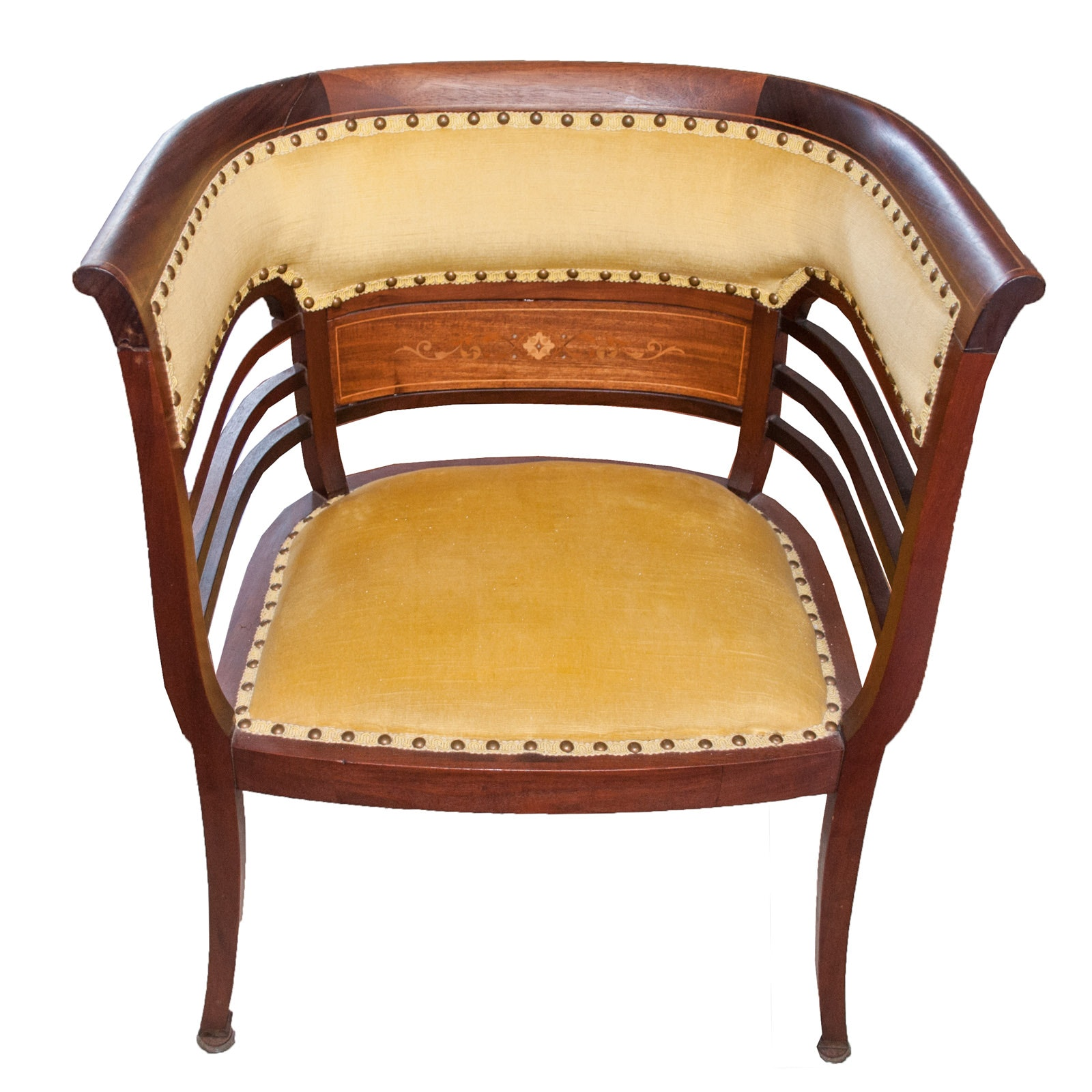 Antique Wood and Velvet Barrel Back Chair