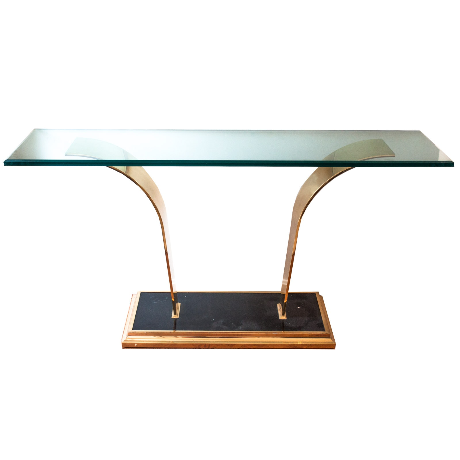Contemporary Art Deco Style Glass And Brass Toned Metal Entry Table ...