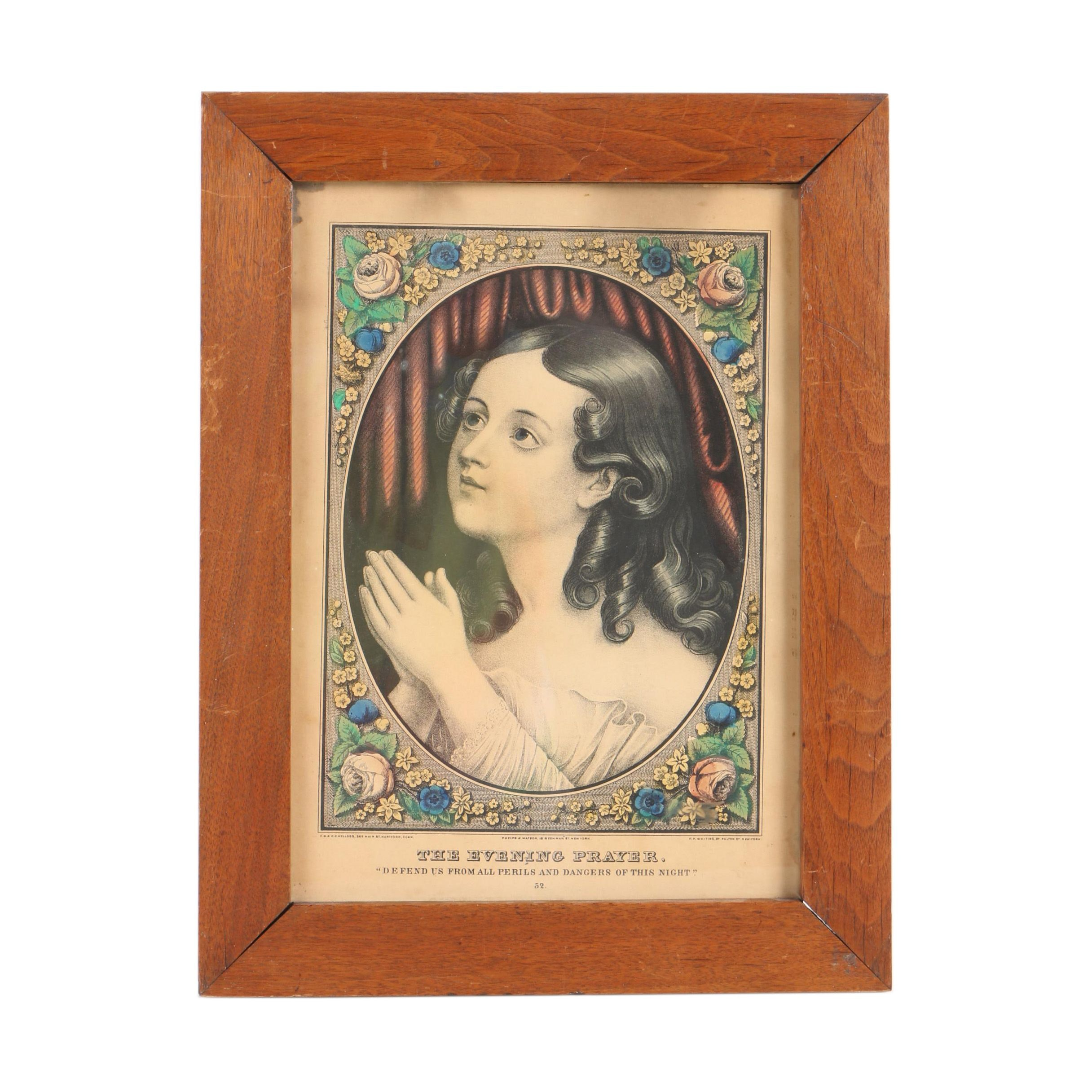 "Hand-Colored Lithograph ""The Evening Prayer"""