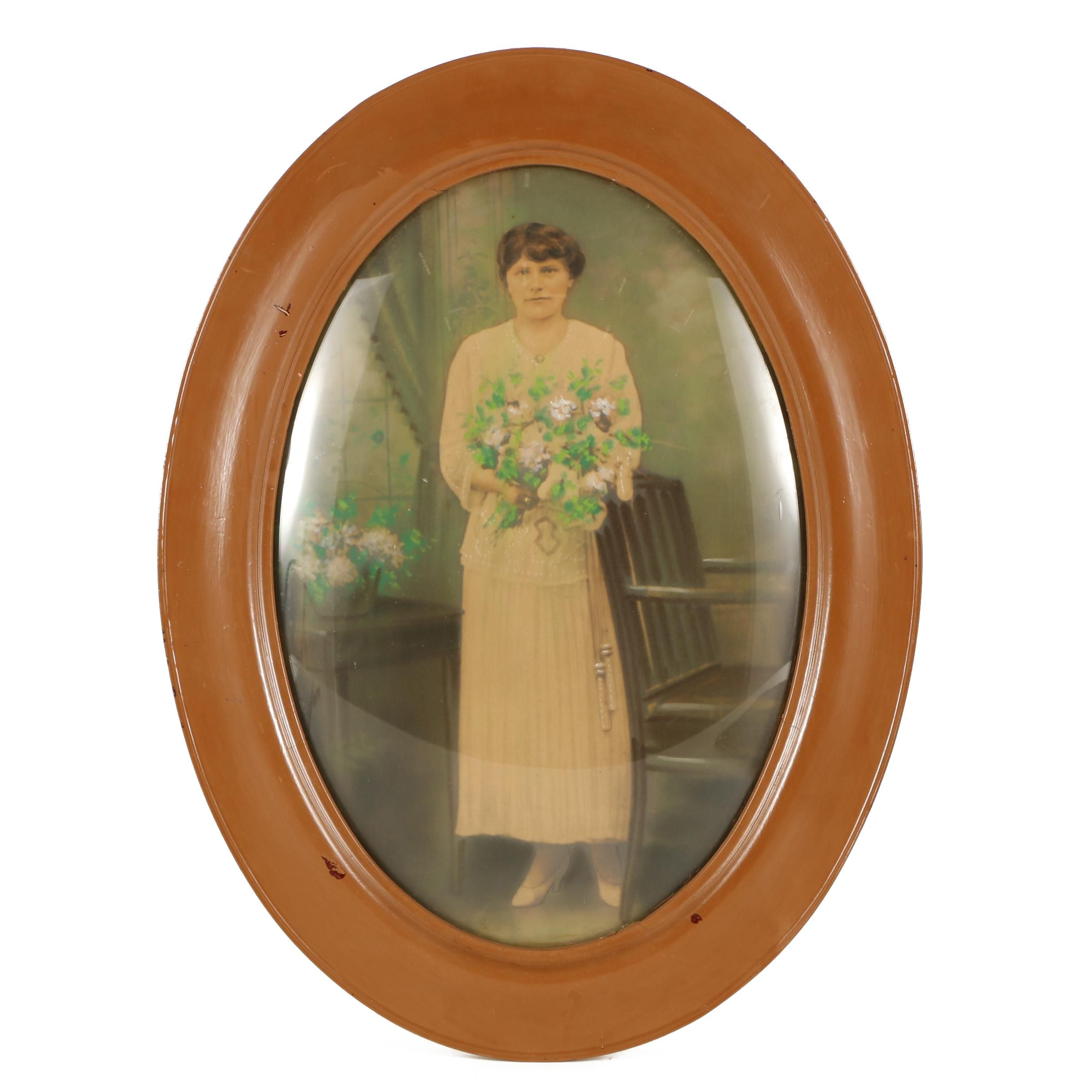 Antique 19th-Century Hand-Tinted Photographic Portrait