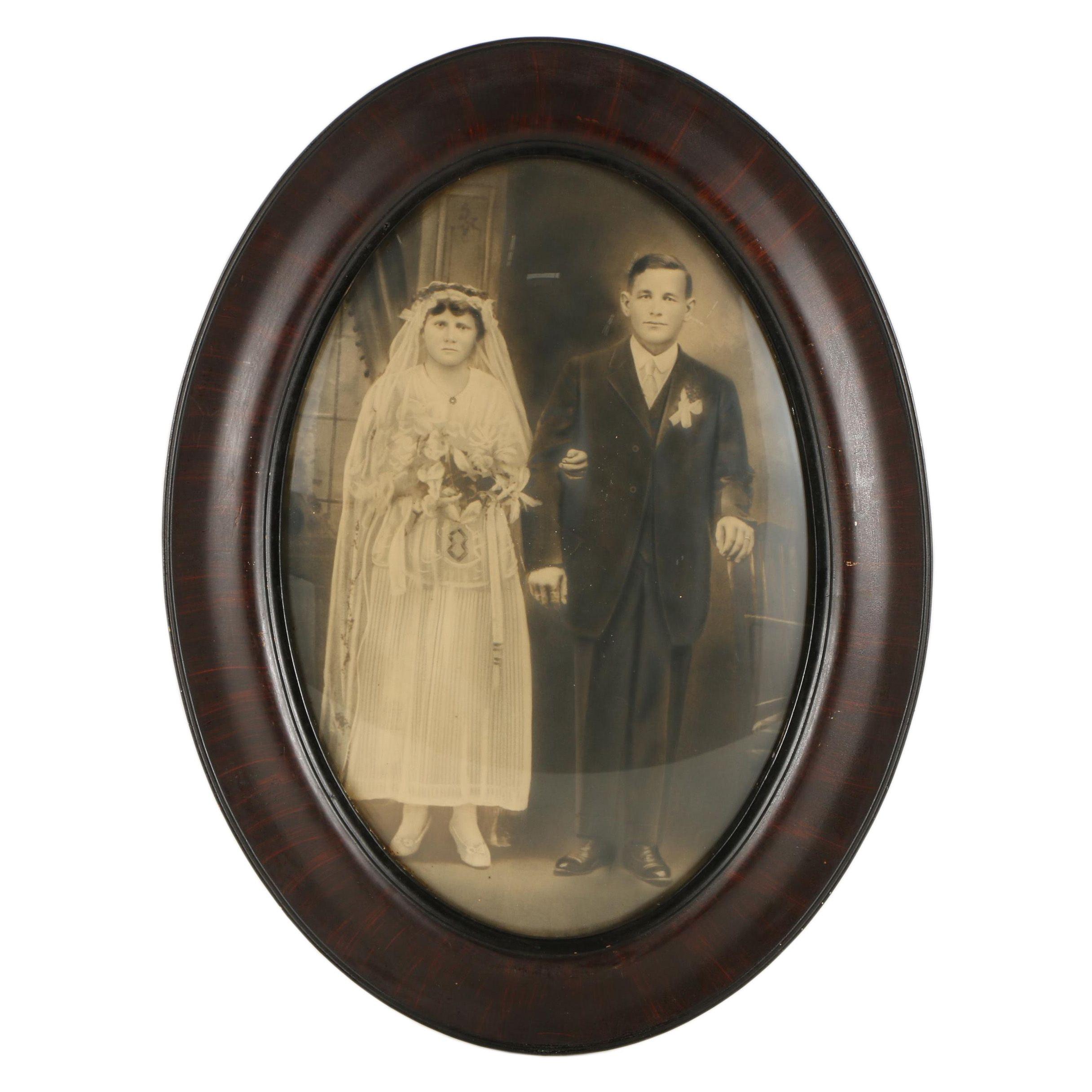 Antique Crayon Wedding Portrait