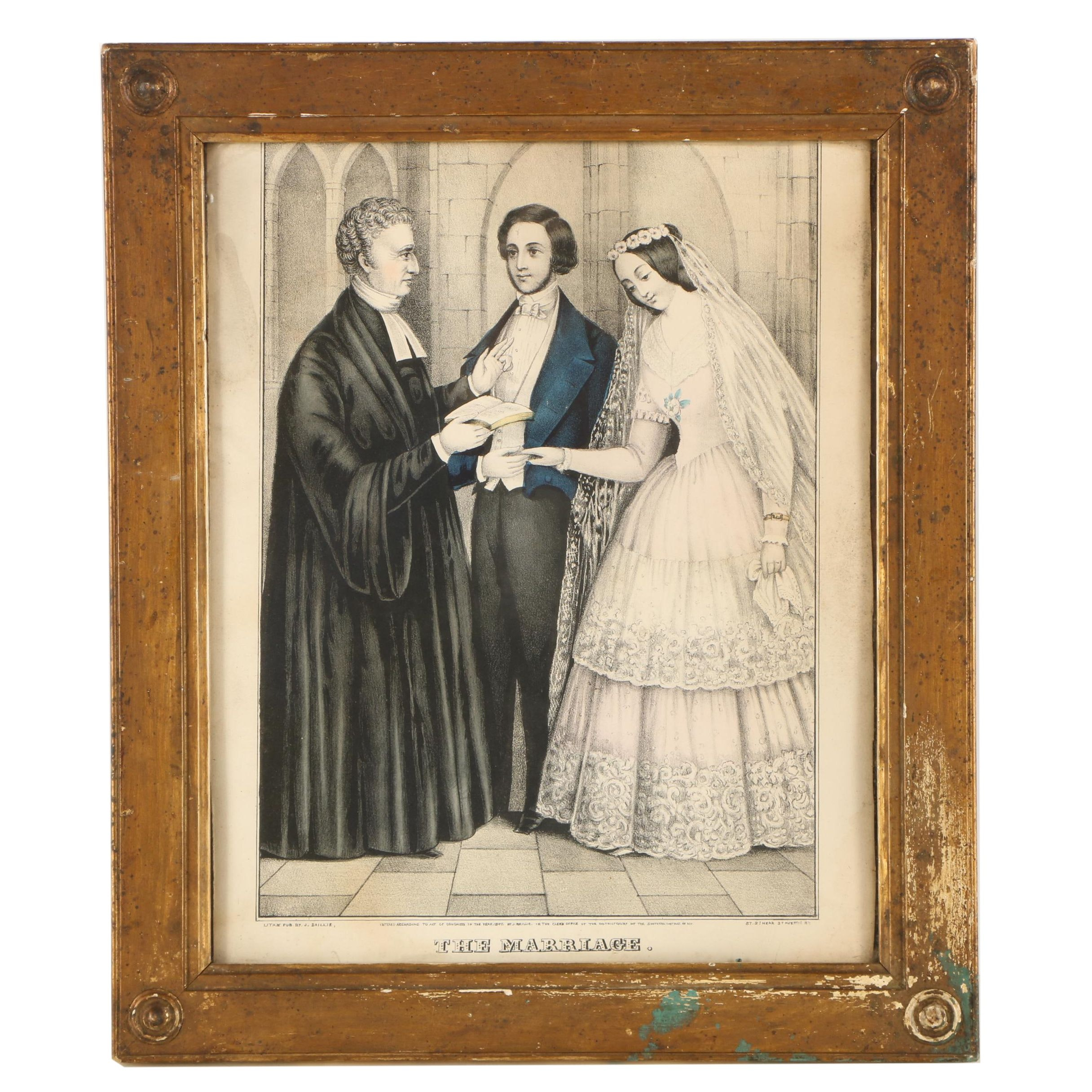 "J. Baillie Hand-Colored Lithograph ""The Marriage"""