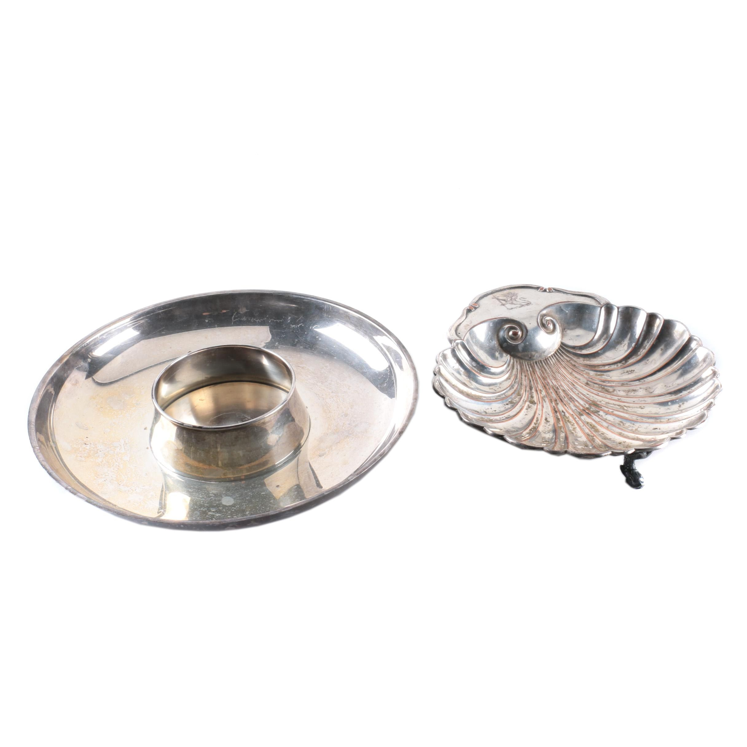 Cresent Silverware Mfg. Co. Shell-Shaped Tray and Other Silver Plate Tray