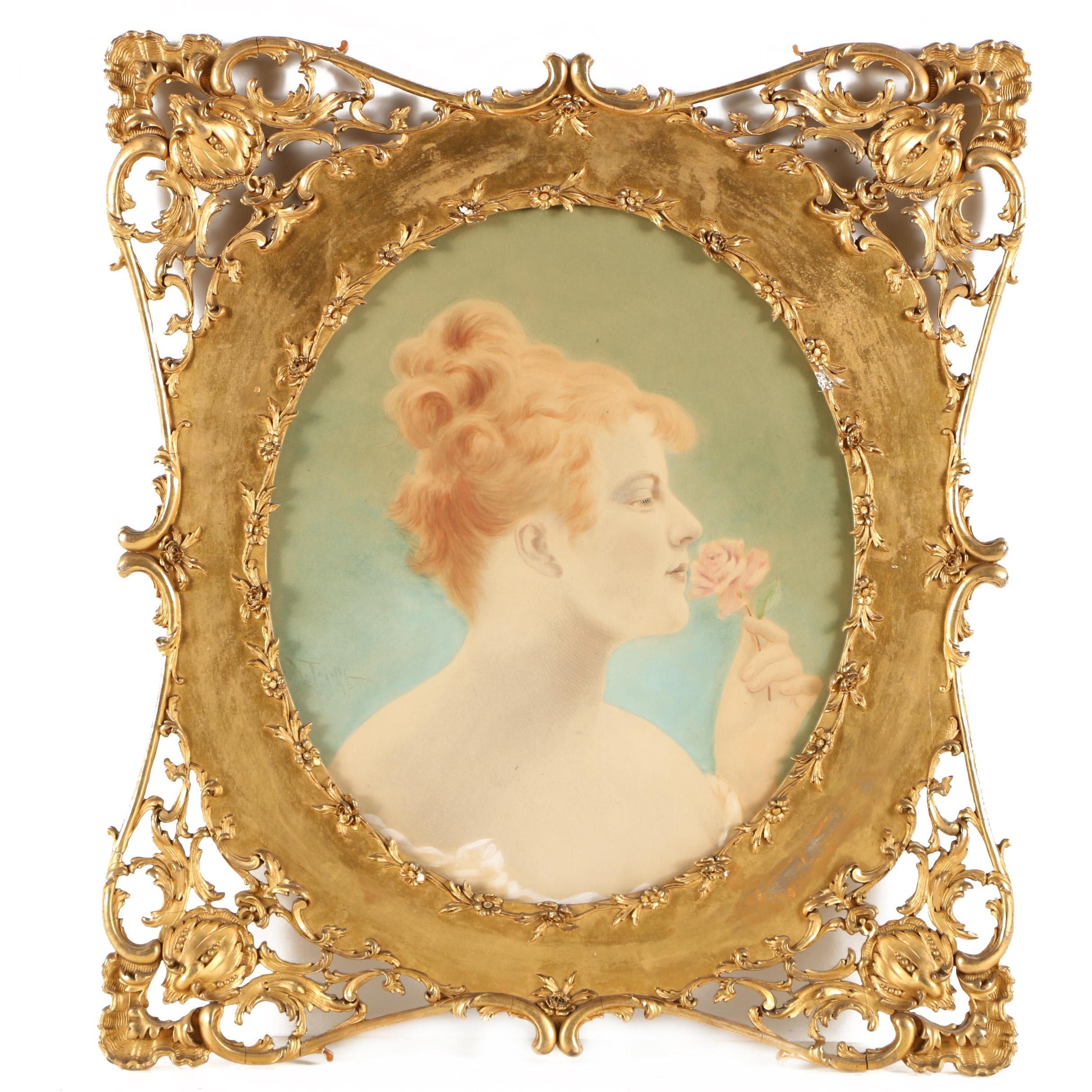 Virgilio Tojetti 1895 Watercolor Portrait