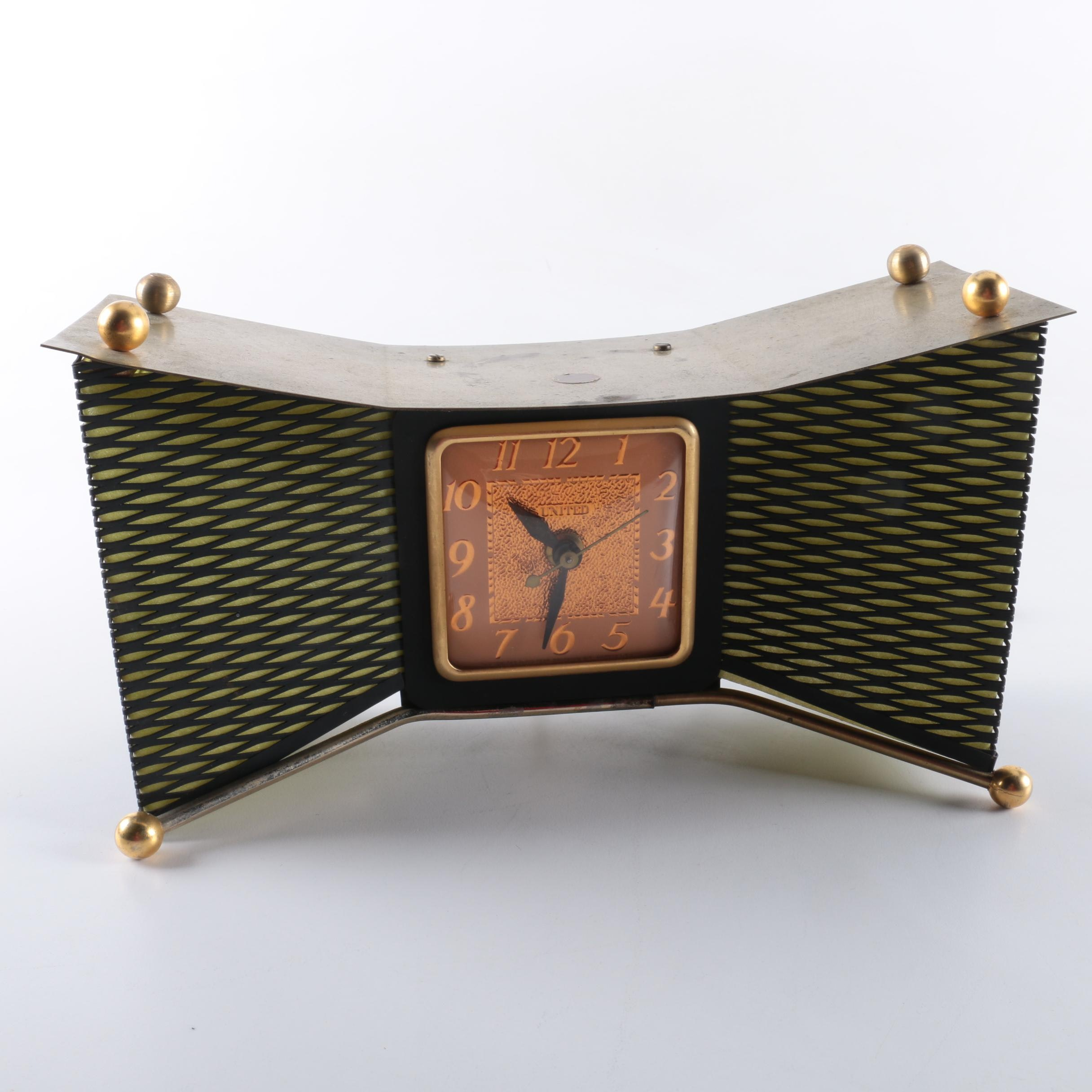 Mid Century Modern United Clock Co. Bow Tie Mantel Clock