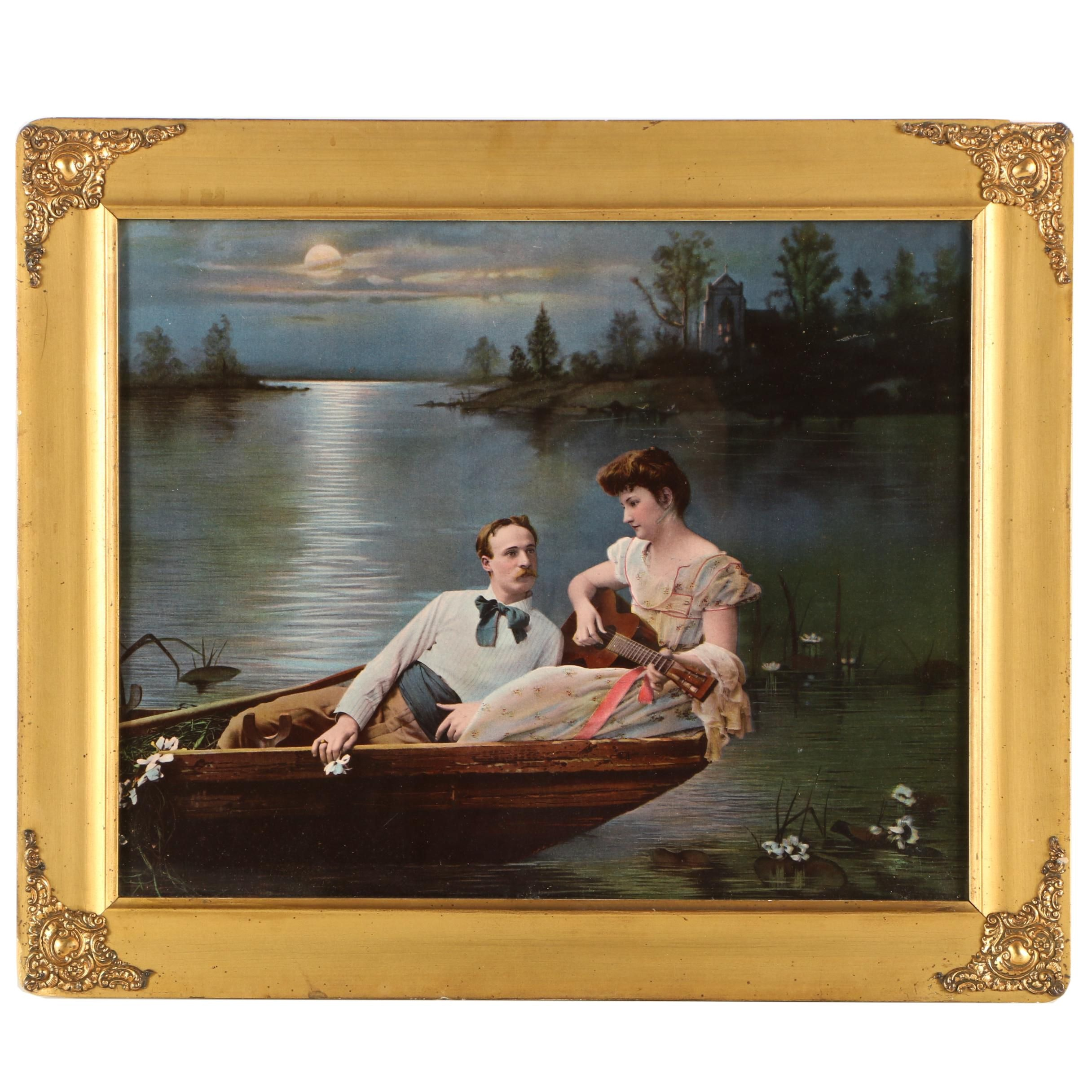 The Ullman MFG Co. 1902 Color Halftone of a Man and Woman in a Rowboat