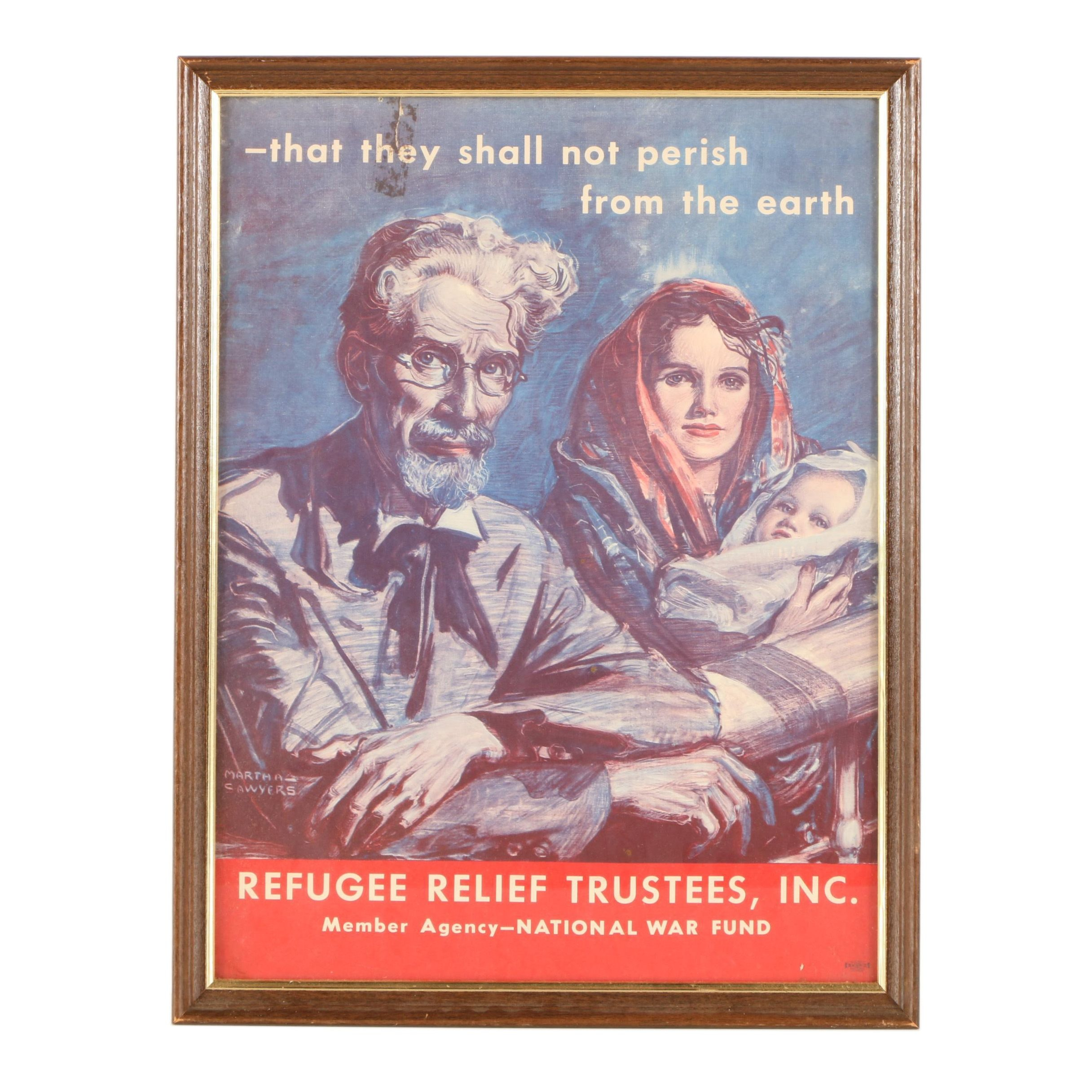 "Offset Lithograph After Martha Sawyers ""Refugee Relief Trustees Inc"""