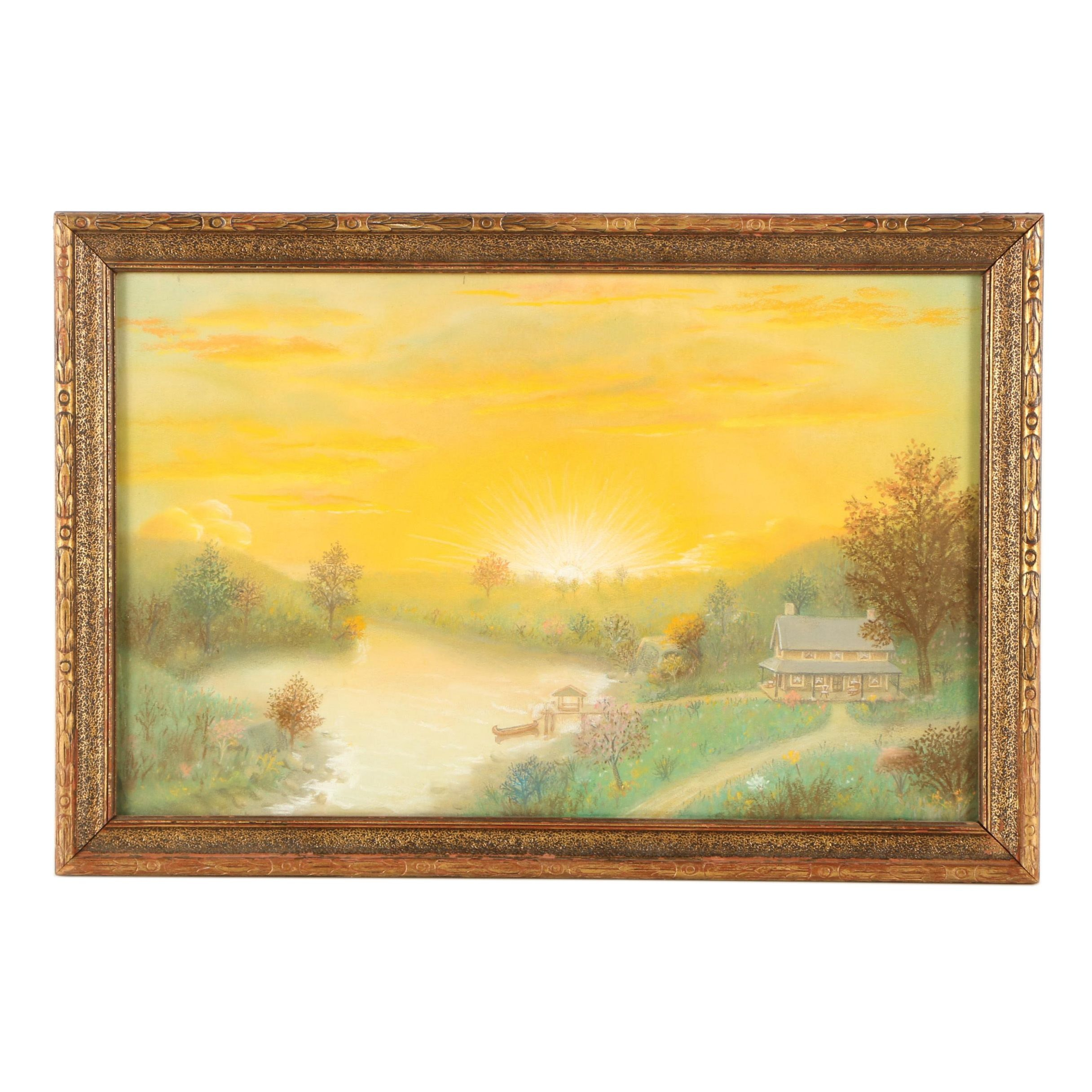 Pastel Drawing of Quaint Country Landscape