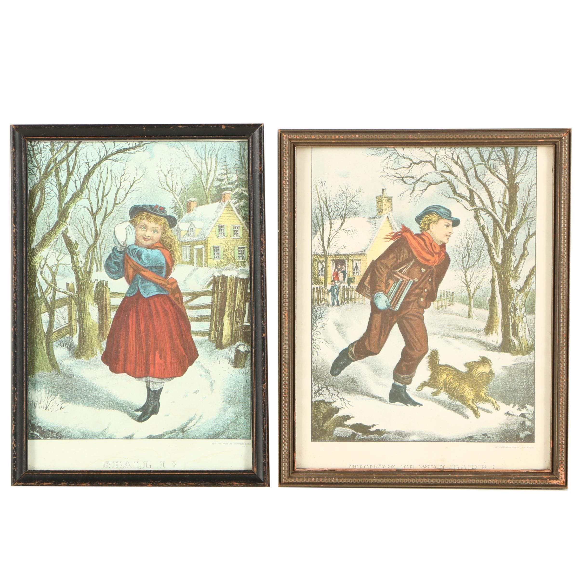 """Offset Lithographs After Currier and Ives """"Shall I?"""" and """"Throw If You Dare!"""""""