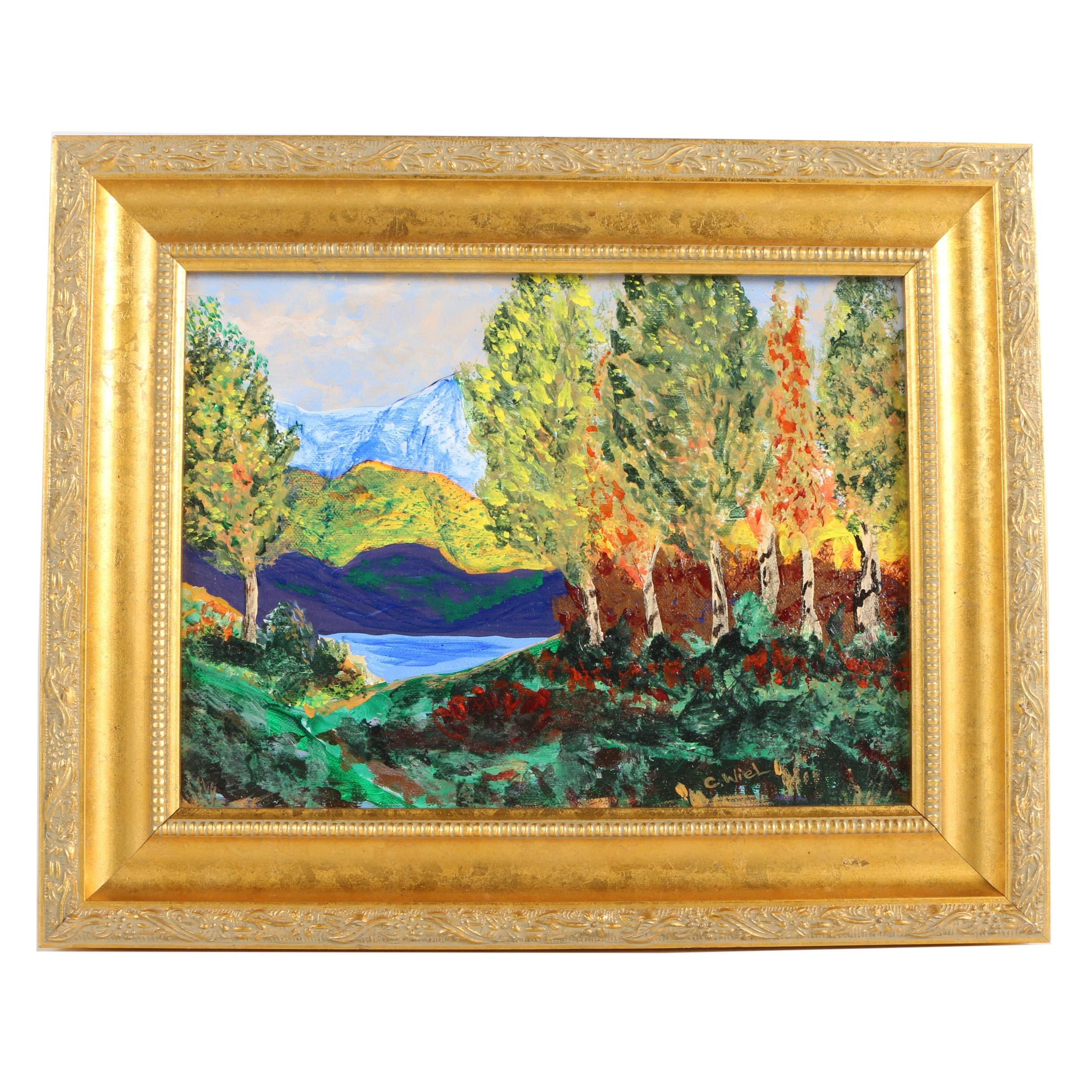 "Carol Wiel Acrylic Painting ""Arizona Aspens"""