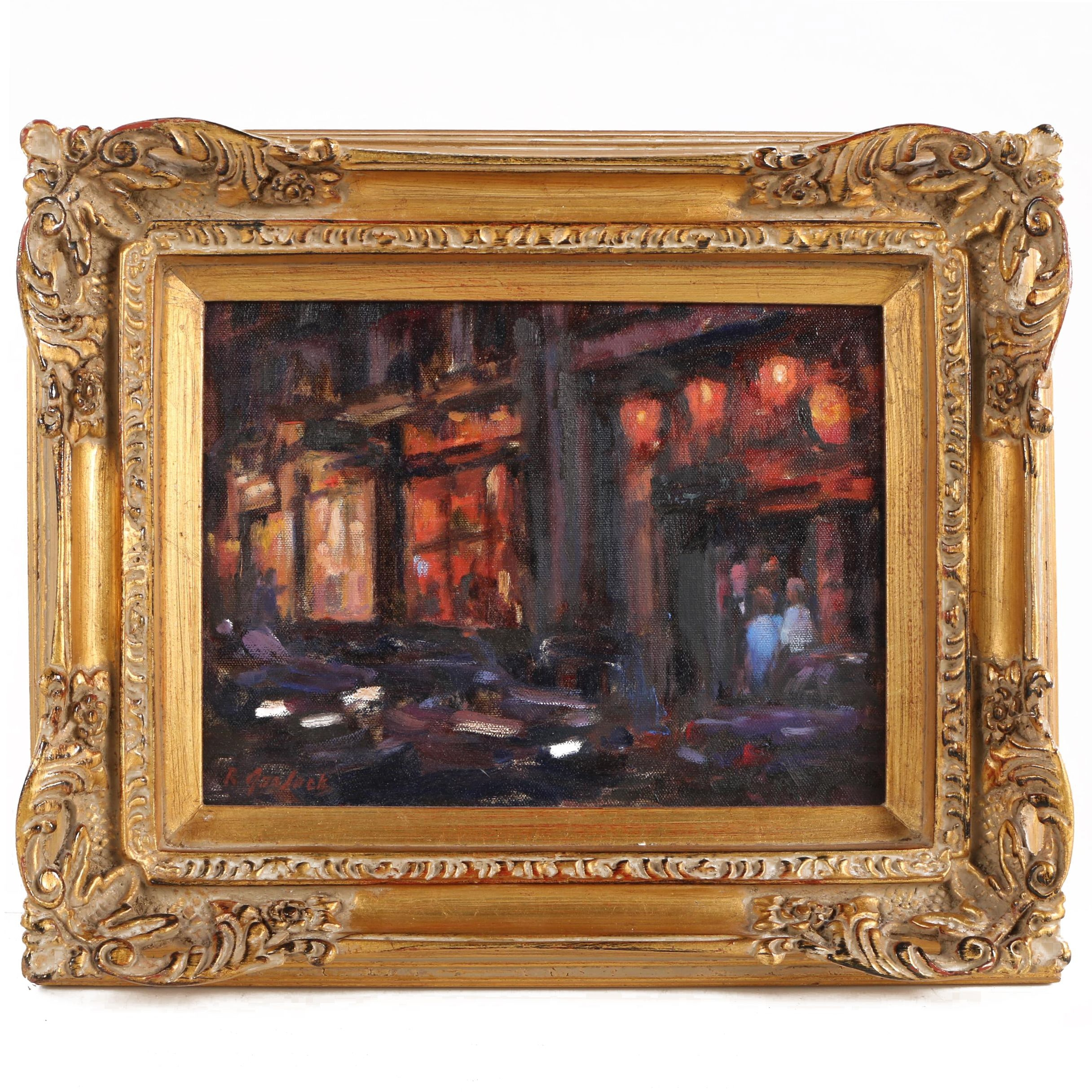 "Robert Garlock Oil Painting ""Paris By Night"""