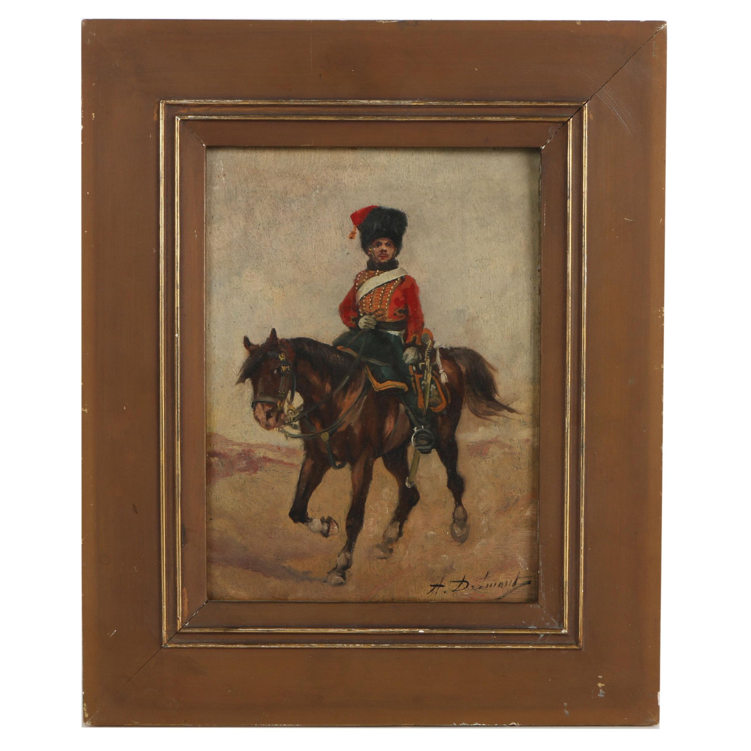 Alfred Dumont Oil Painting of a Soldier on Horseback