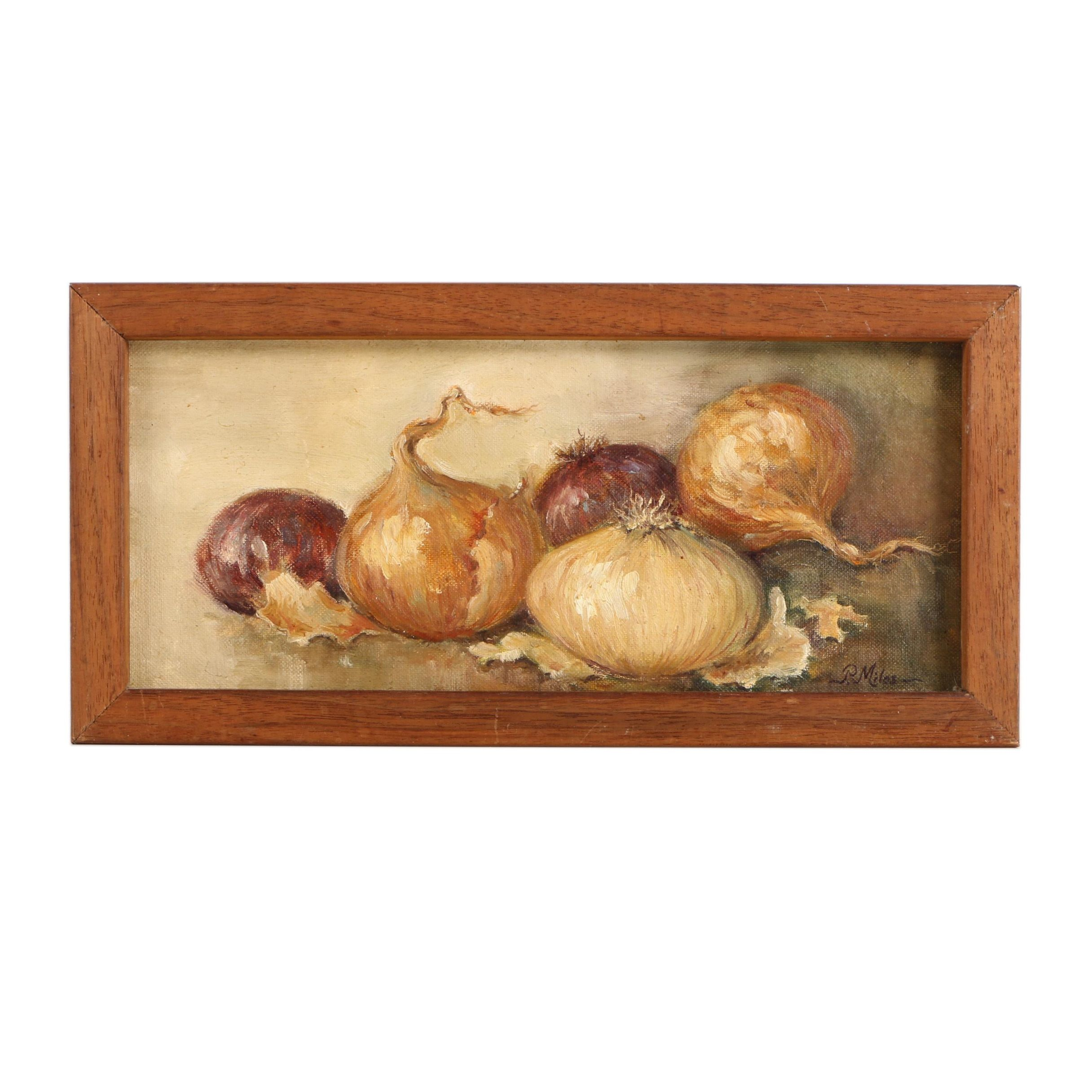 P. Milos Oil Still Life Painting on Canvas Board