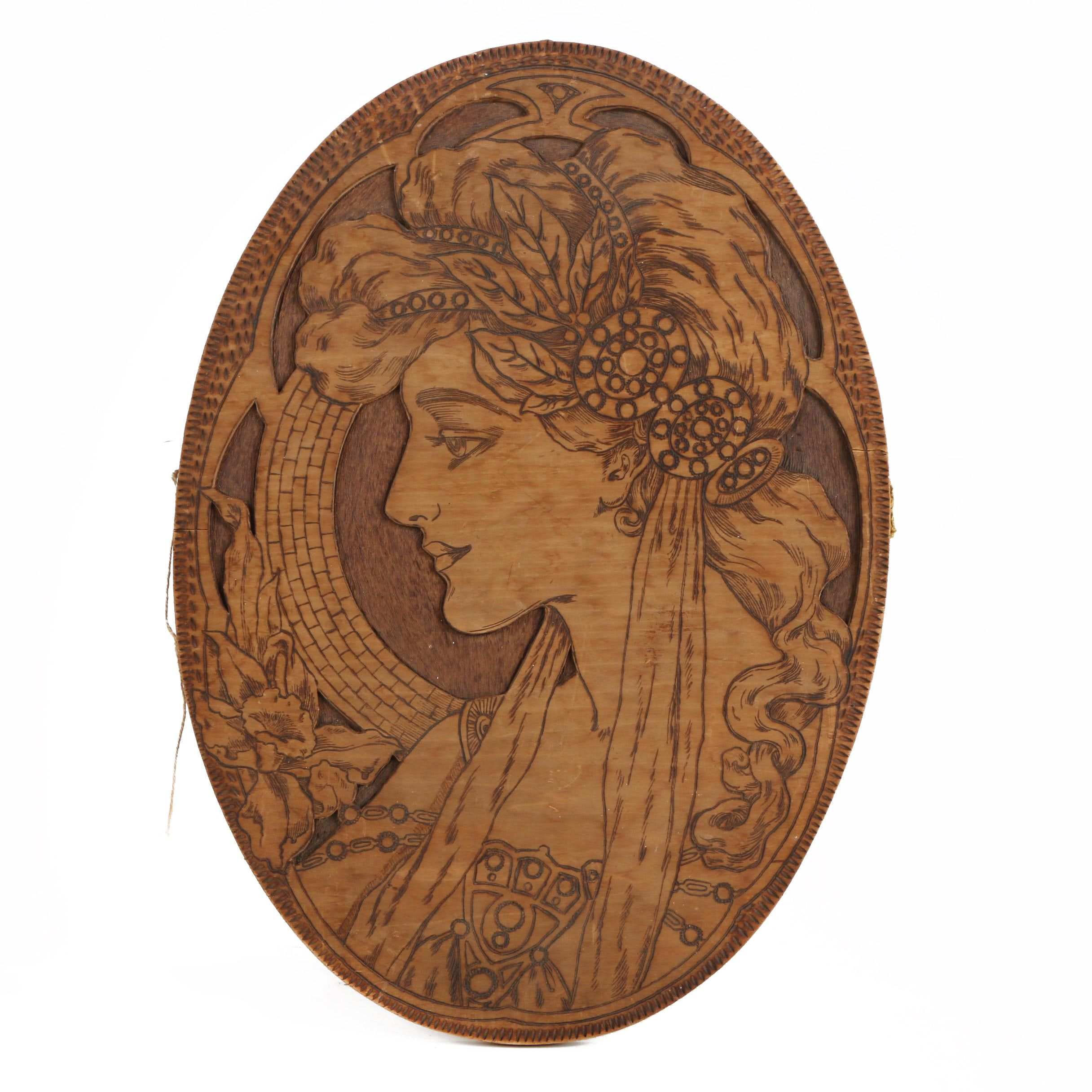 Art Nouveau Relief Plaque in the Manner of Alphonse Mucha