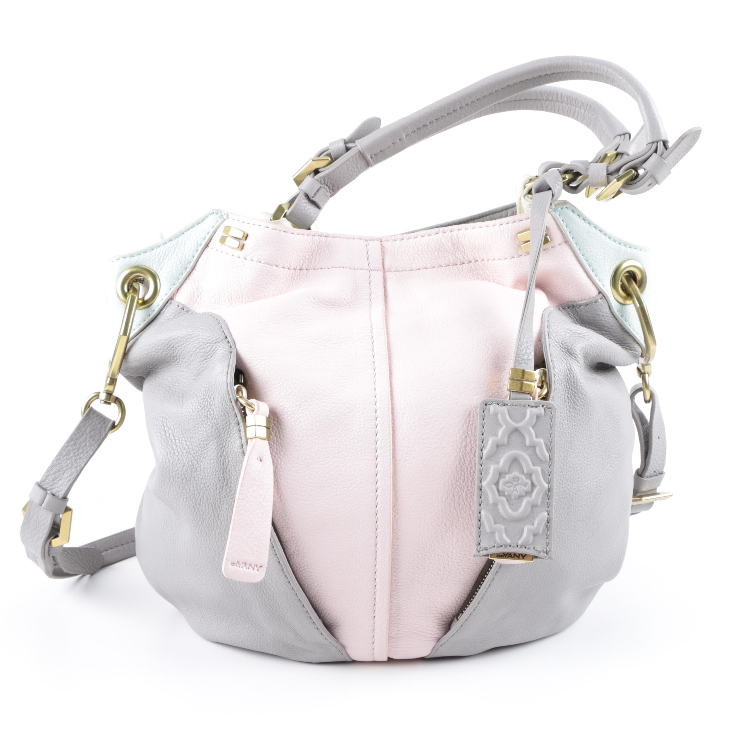 Oryany Gray and Pink Leather Convertible Handbag
