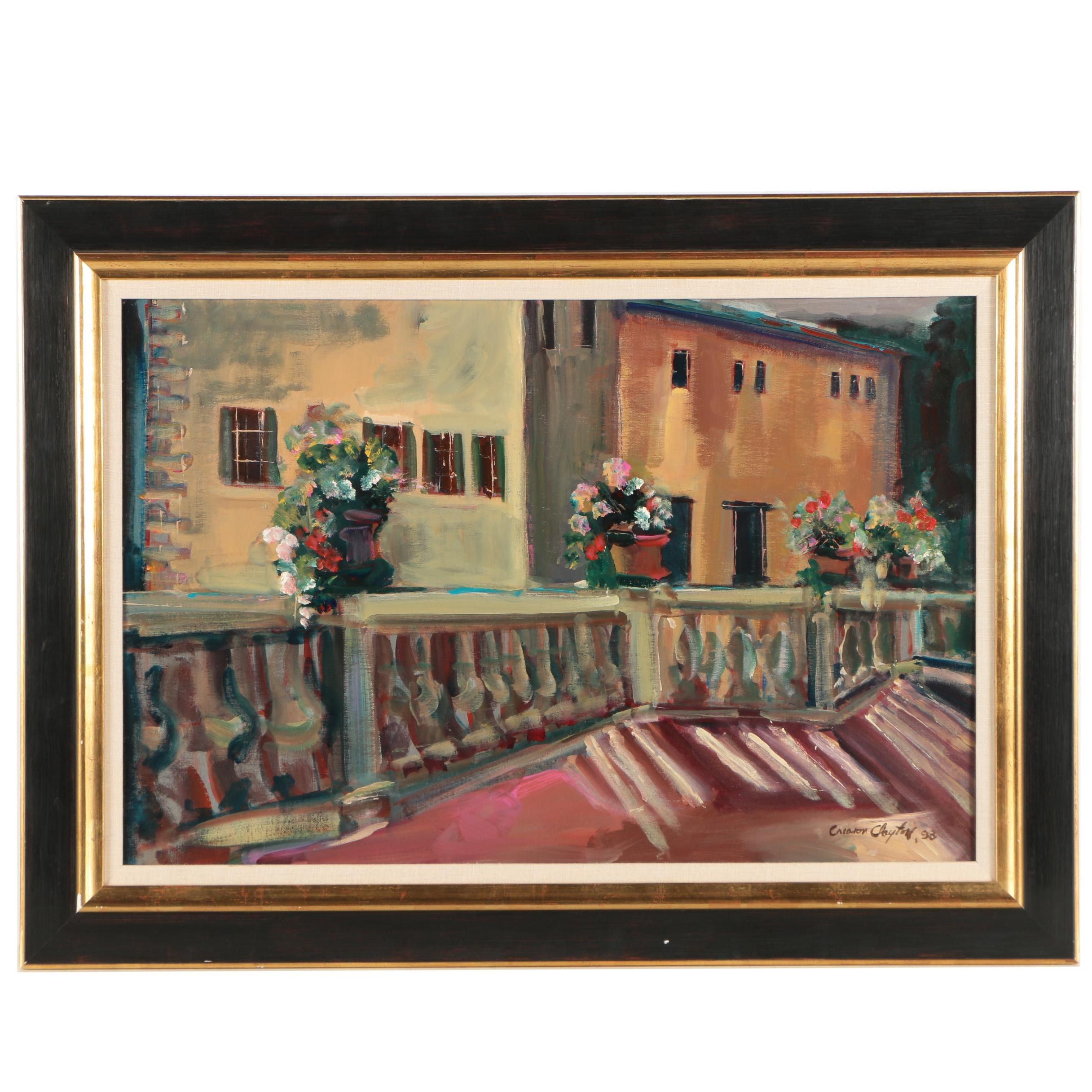 "Creason Clayton Oil Painting ""Balcony in Chianti"""