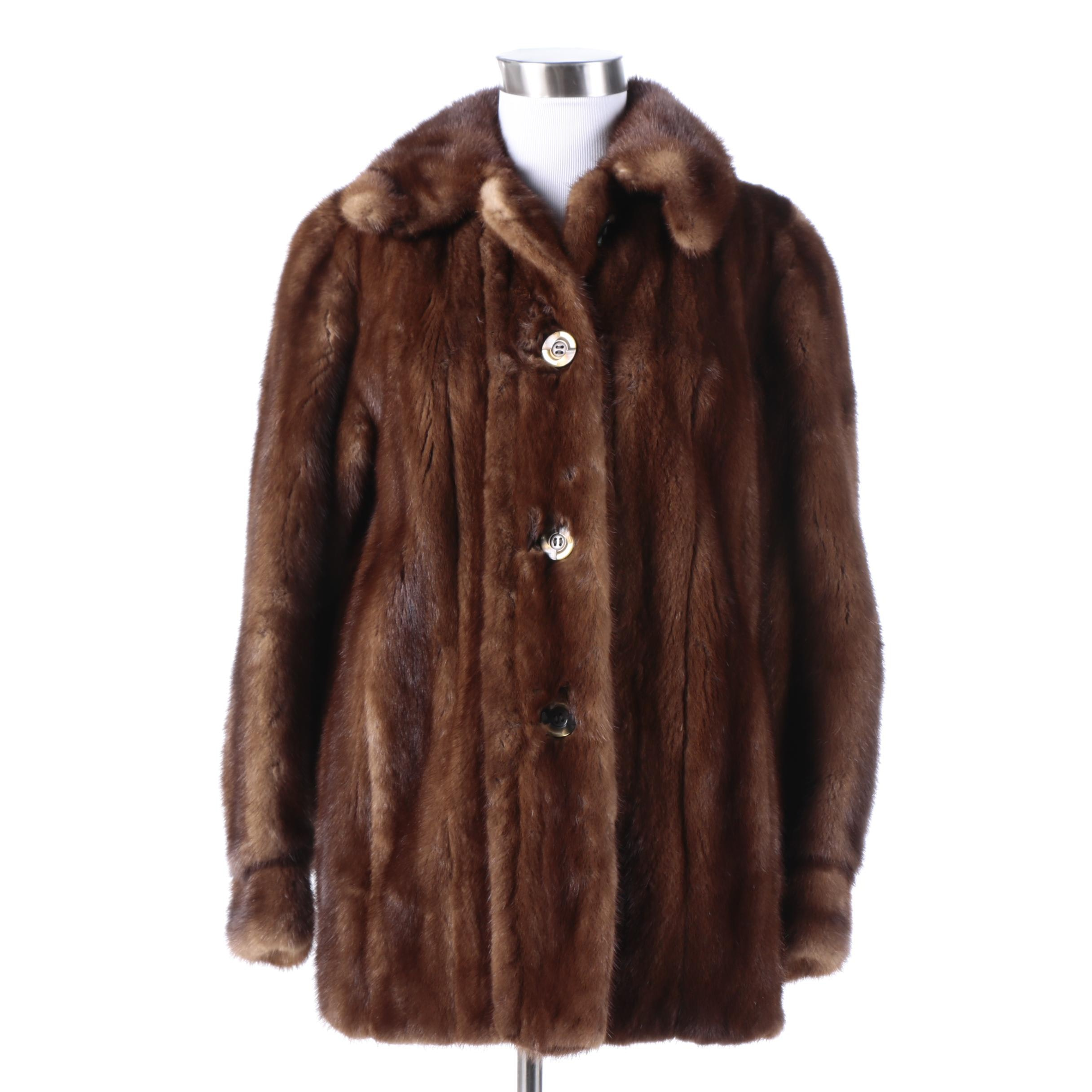 Vintage EMBA Lunaraine Natural Dark Brown Mink Fur Coat