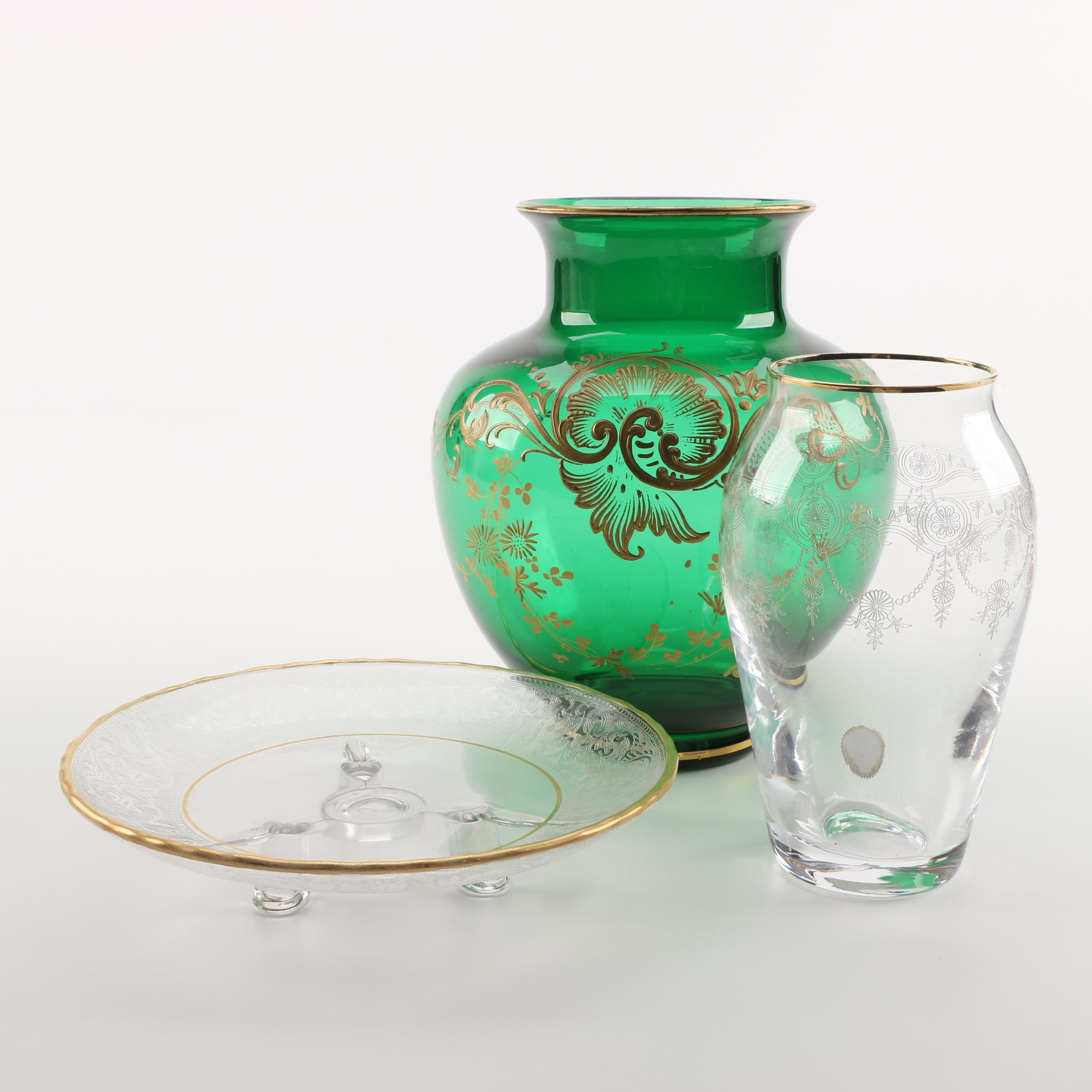 Bohemian Gilt Vase and Etched Glassware