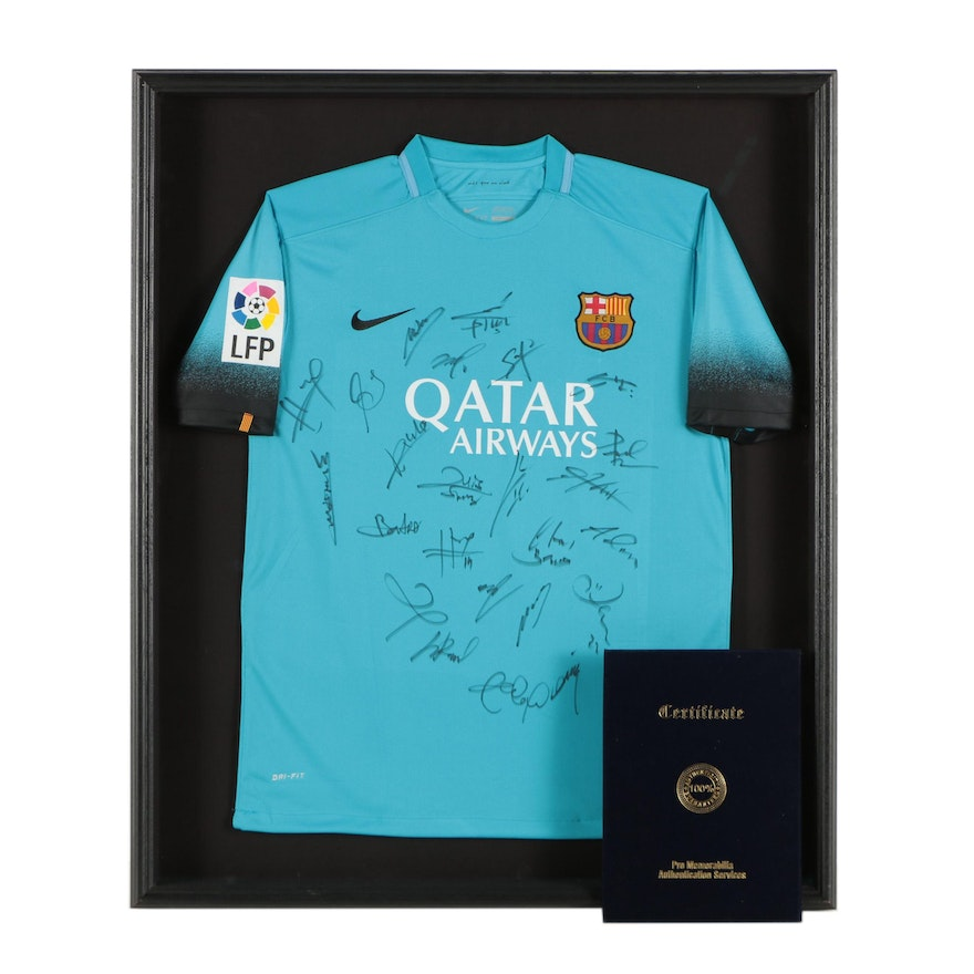 c764b22e828 Team Signed FC Barcelona Jersey Featuring Lionel Messi and Sergi Roberto |  EBTH
