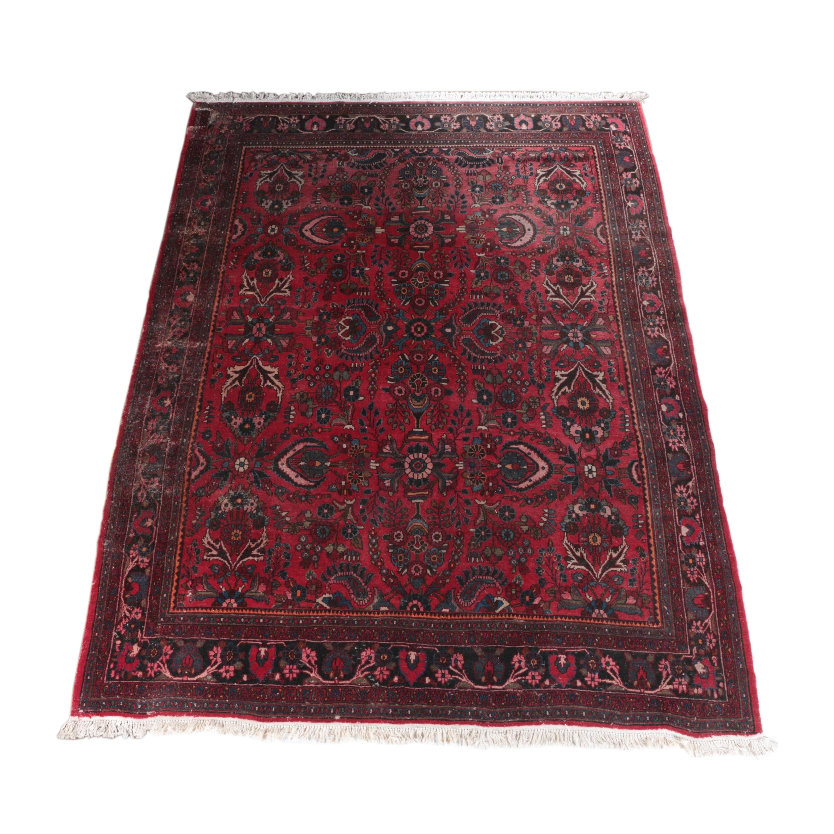 Large Antique Hand-Knotted Persian Arak Area Rug