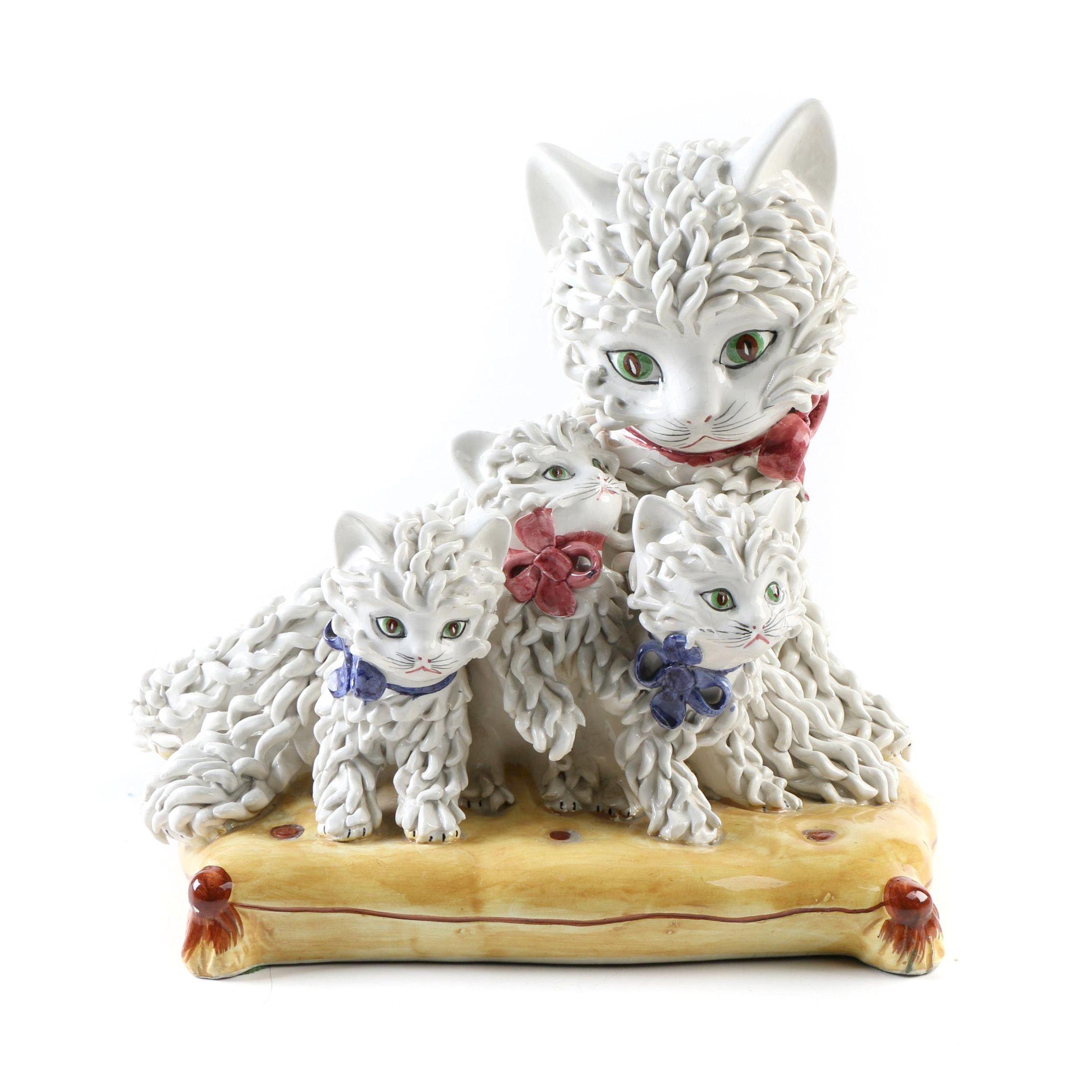 Mid Century Italian Majolica Ceramic Cat and Kittens