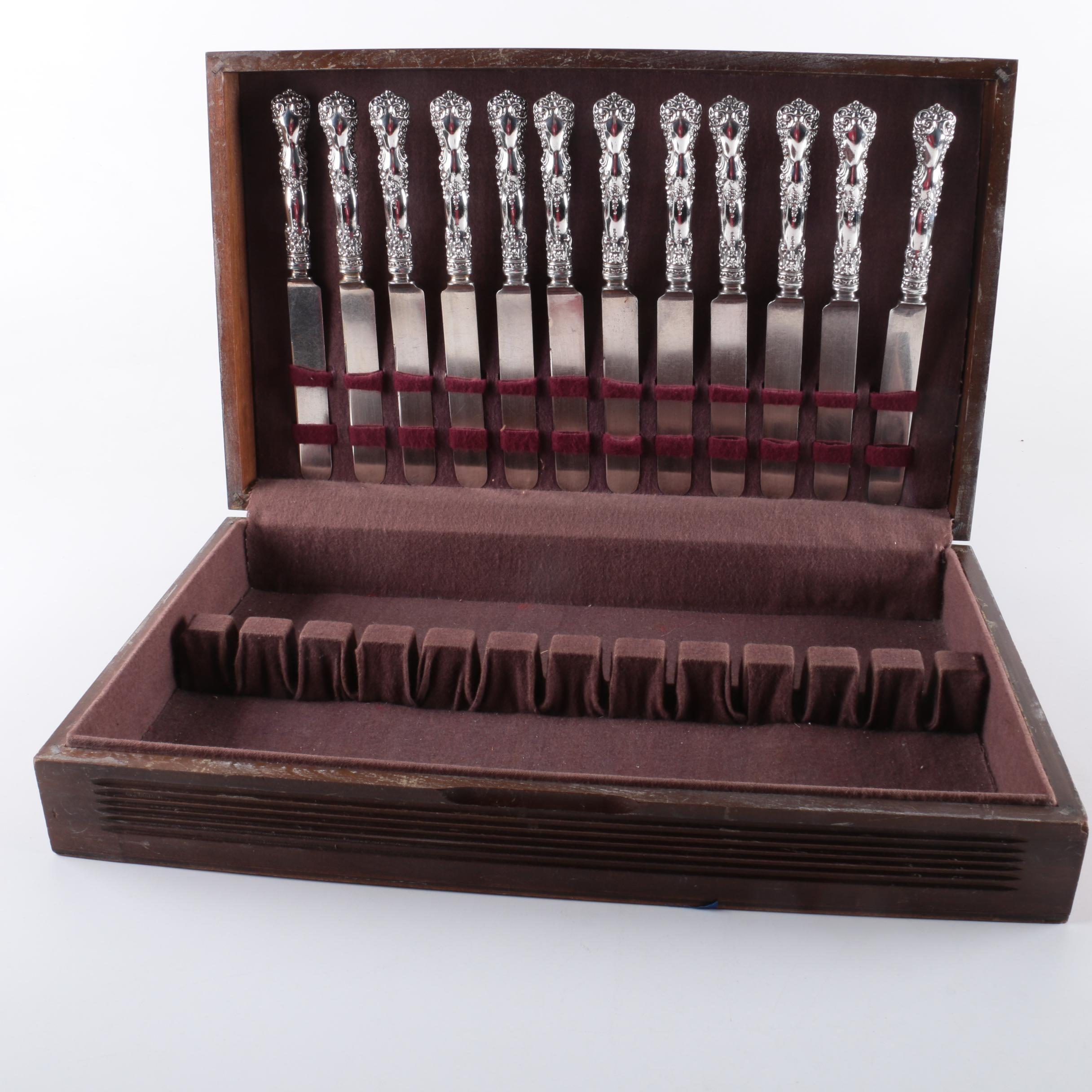 Sterling Handled Dinner Knives with Wooden Flatware Storage Chest