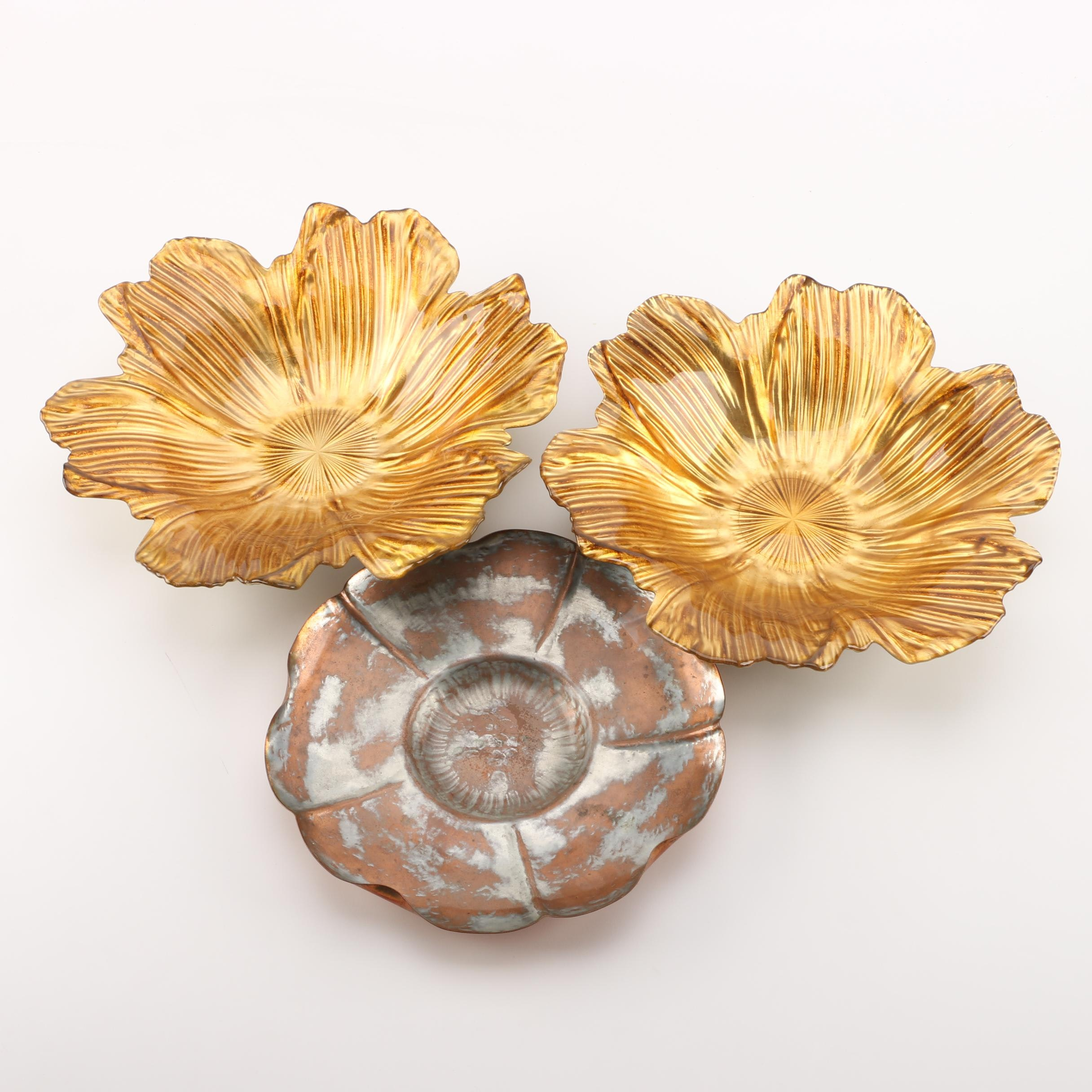Glass and Copper Flower Shaped Bowls