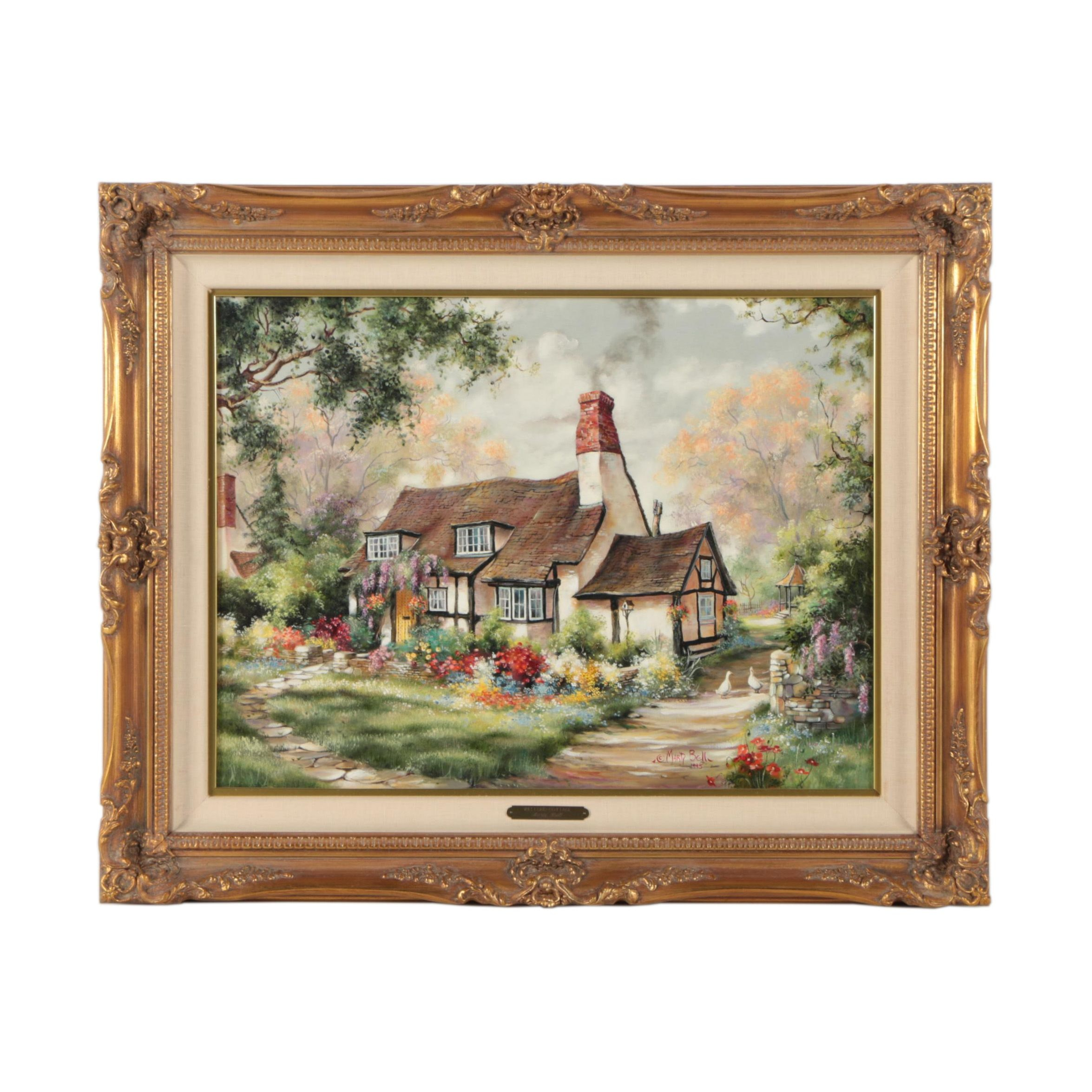 "Marty Bell 1995 Oil Painting ""Welford Cottage"""