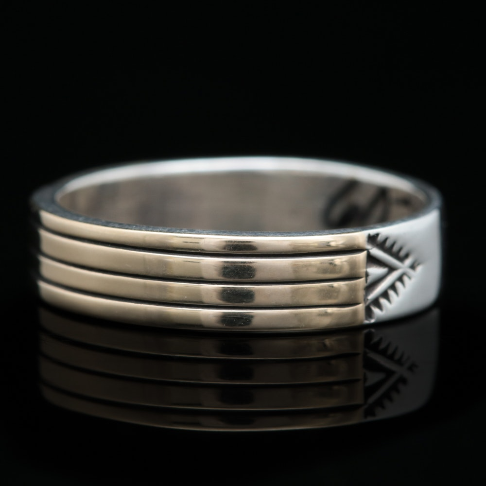 Sterling Silver and 14K Yellow Gold Band