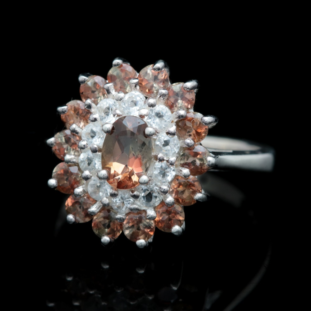 Sterling Silver, Color Change Garnet and White Topaz Ring