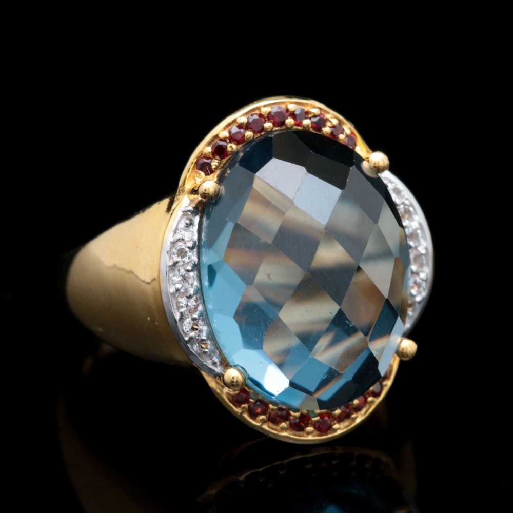 Gold Wash on Sterling Silver, Synthetic Blue Spinel, Garnet and White Topaz Ring
