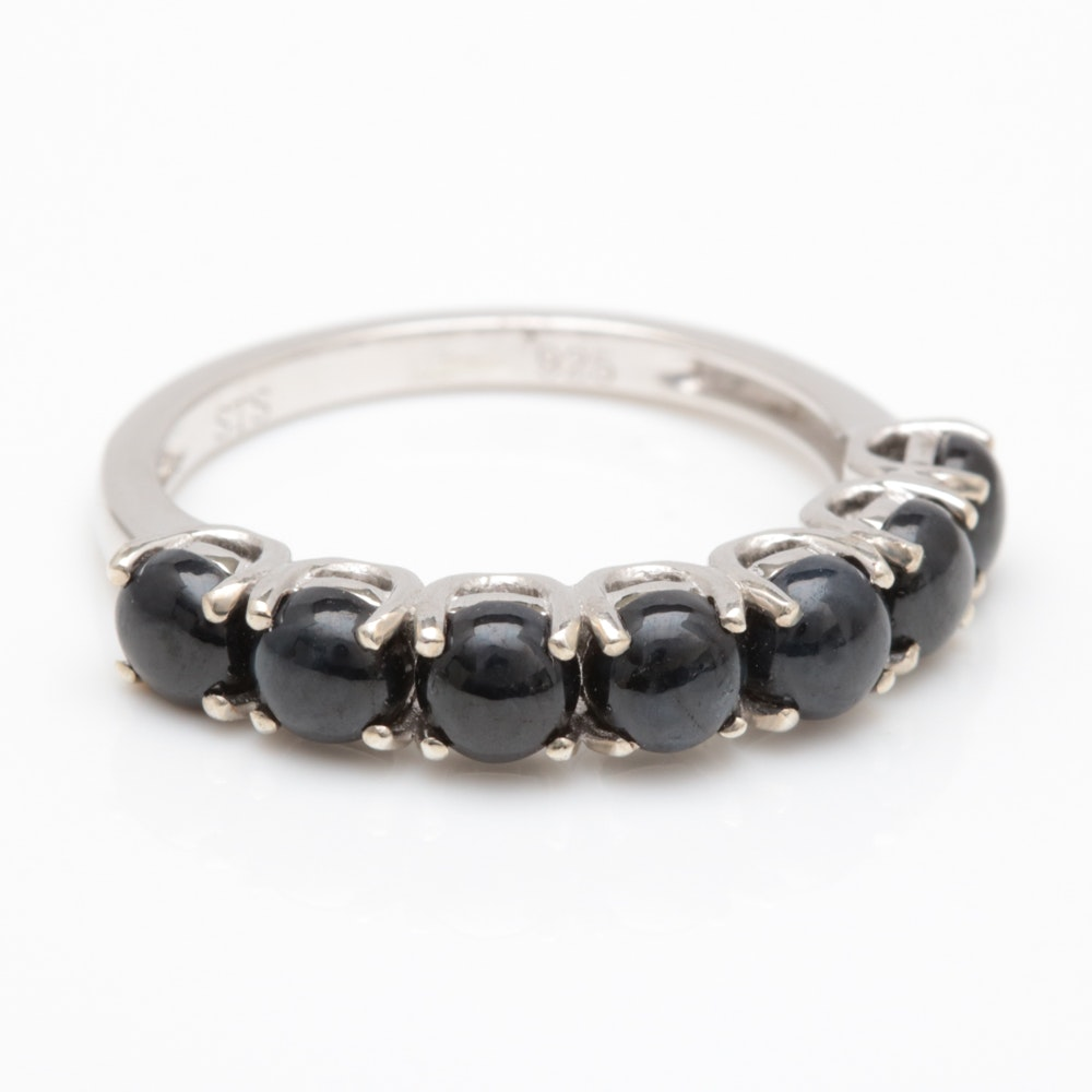 Sterling Silver and Blue Sapphire Cabochon Ring