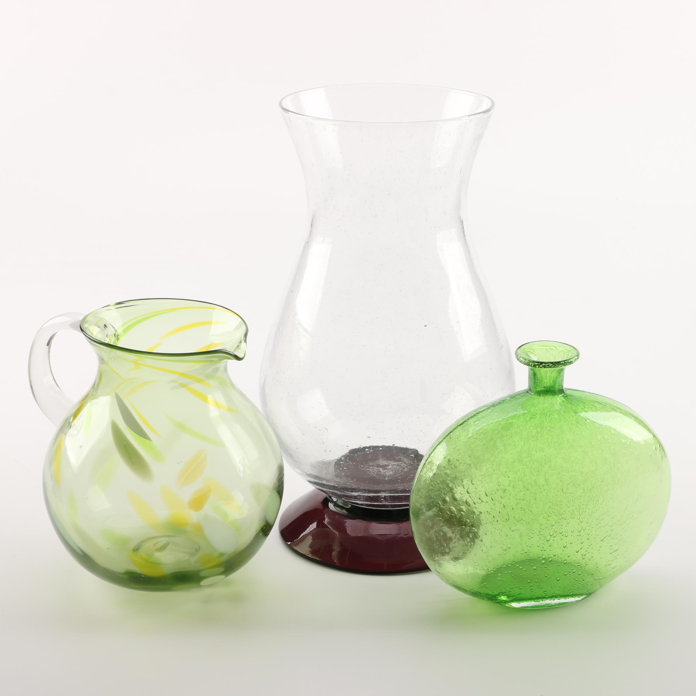 Glass Vases and Pitcher Including Hand Blown