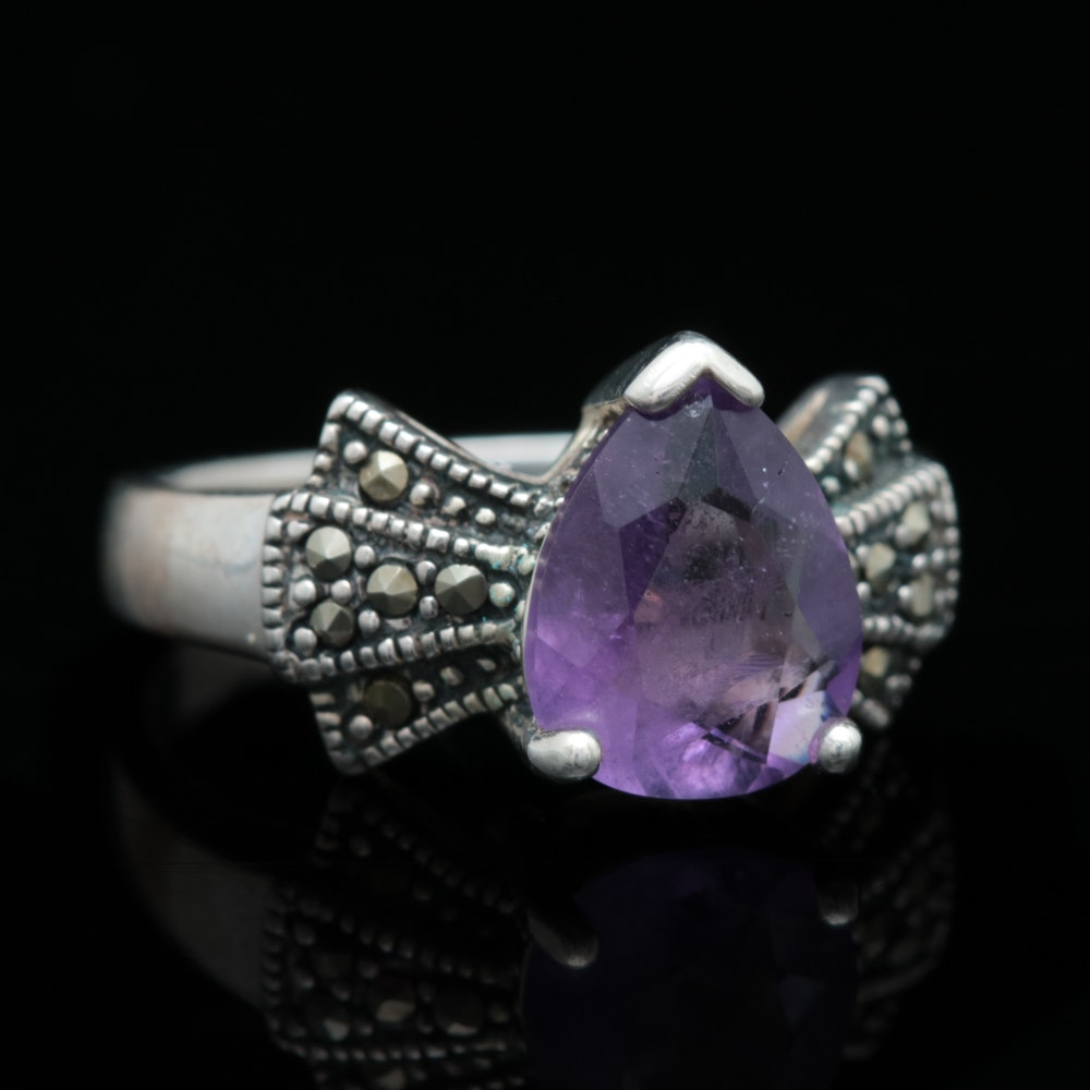 Sterling Silver, Amethyst and Marcasite Ring