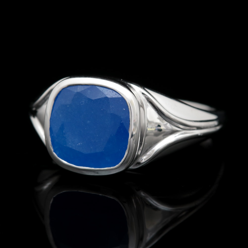 Sterling Silver and Blue Jadeite Ring