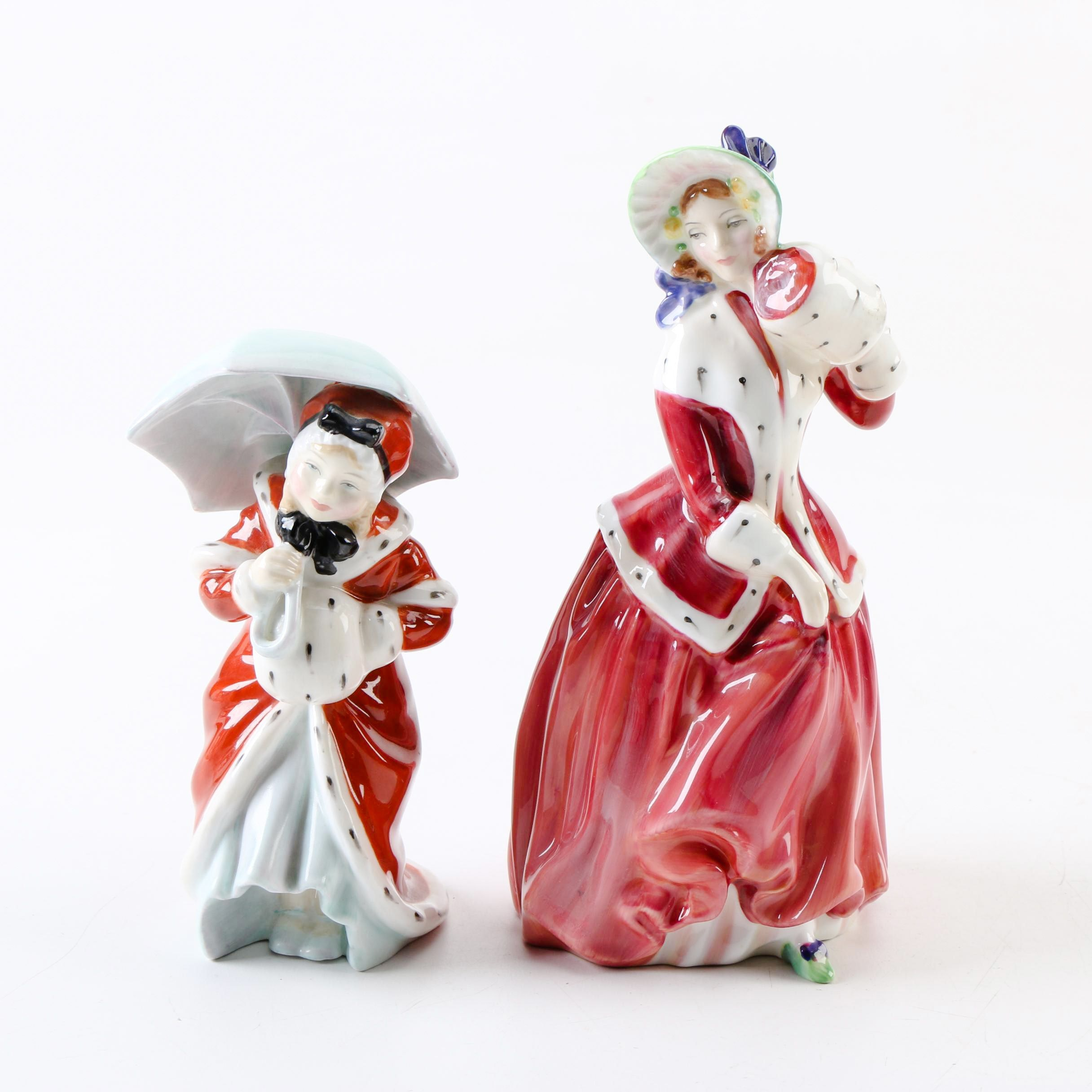 """1940s Royal Doulton """"Christmas Morn"""" and """"Miss Muffet"""" Porcelain Figurines"""