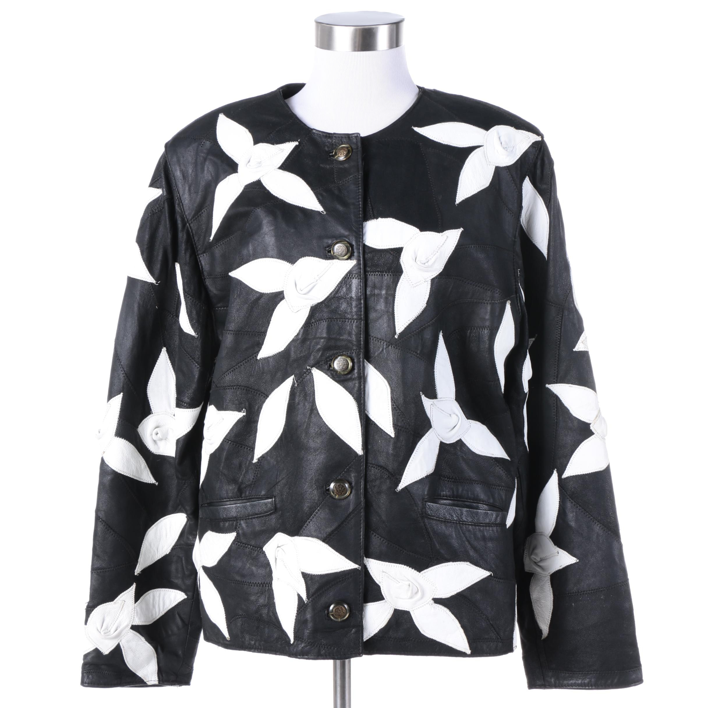 Women's Black Leather Jacket with White Appliqued Flowers