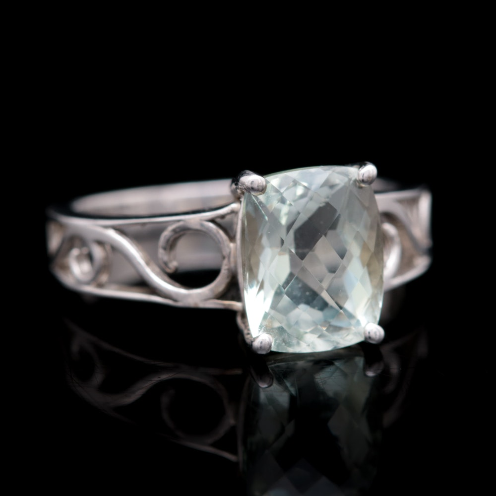Sterling Silver and Praseolite Ring