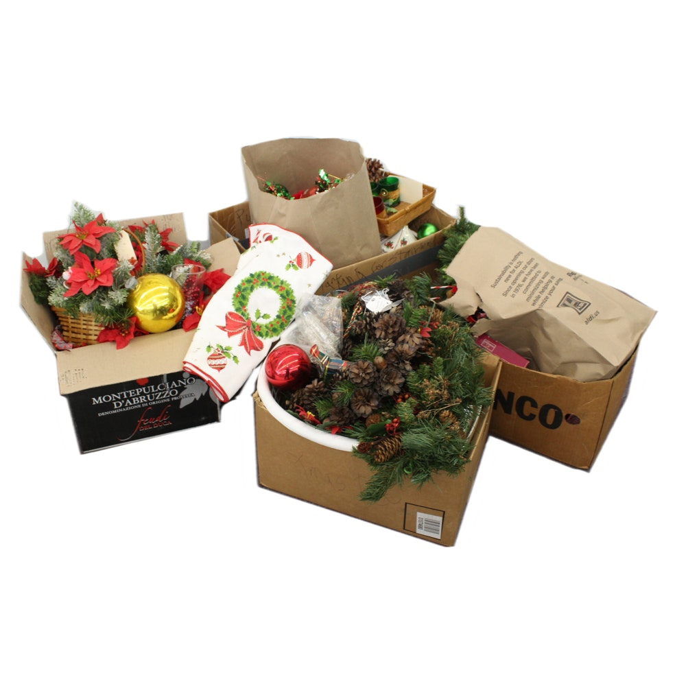 Vintage Christmas Garlands, Faux Poinsettias, and Ornaments