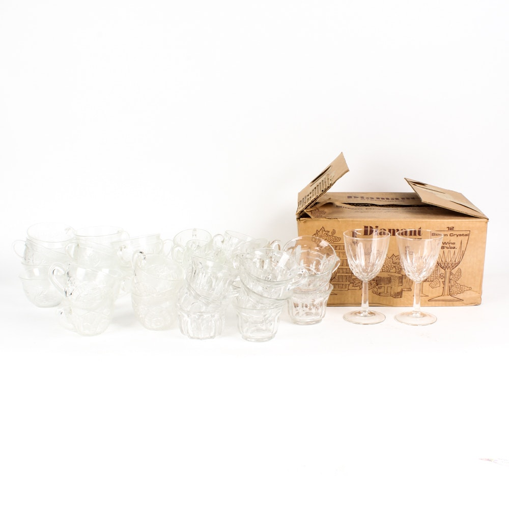 """Cristal D'Arques-Durand """"Diamant"""" Crystal Wine Glasses and Glass Punchbowl Set"""