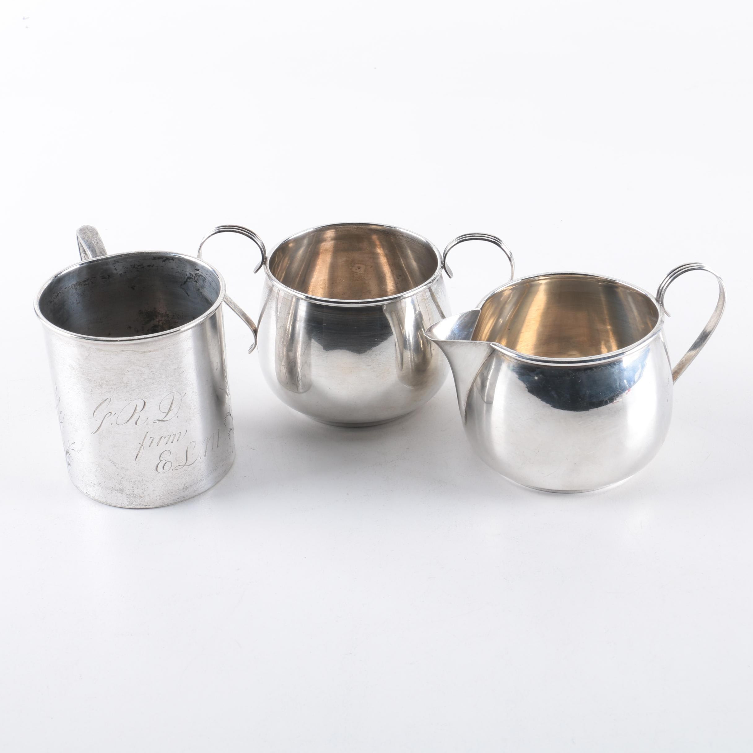 Watrous Mfg. Co. Sterling Silver Sugar and Creamer Set and Silver Plate Cup