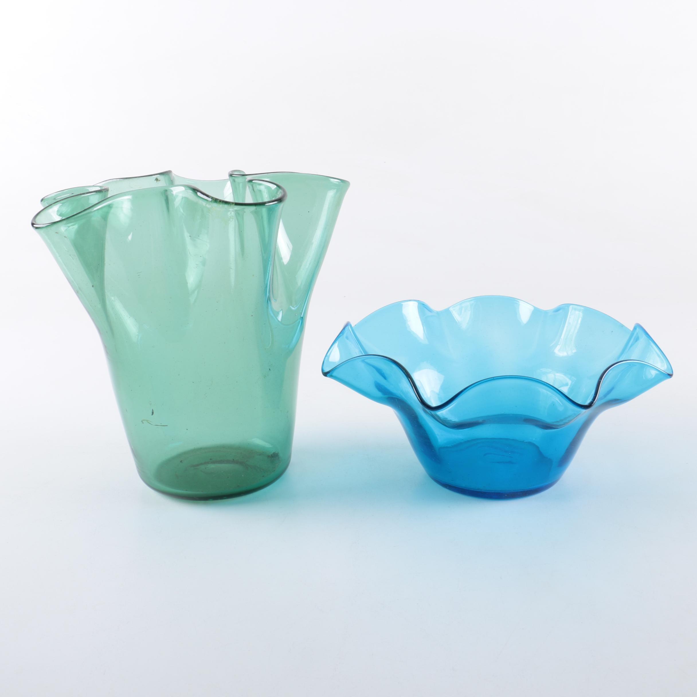 Hand Blown Glass Handkerchief Vase and Bowl