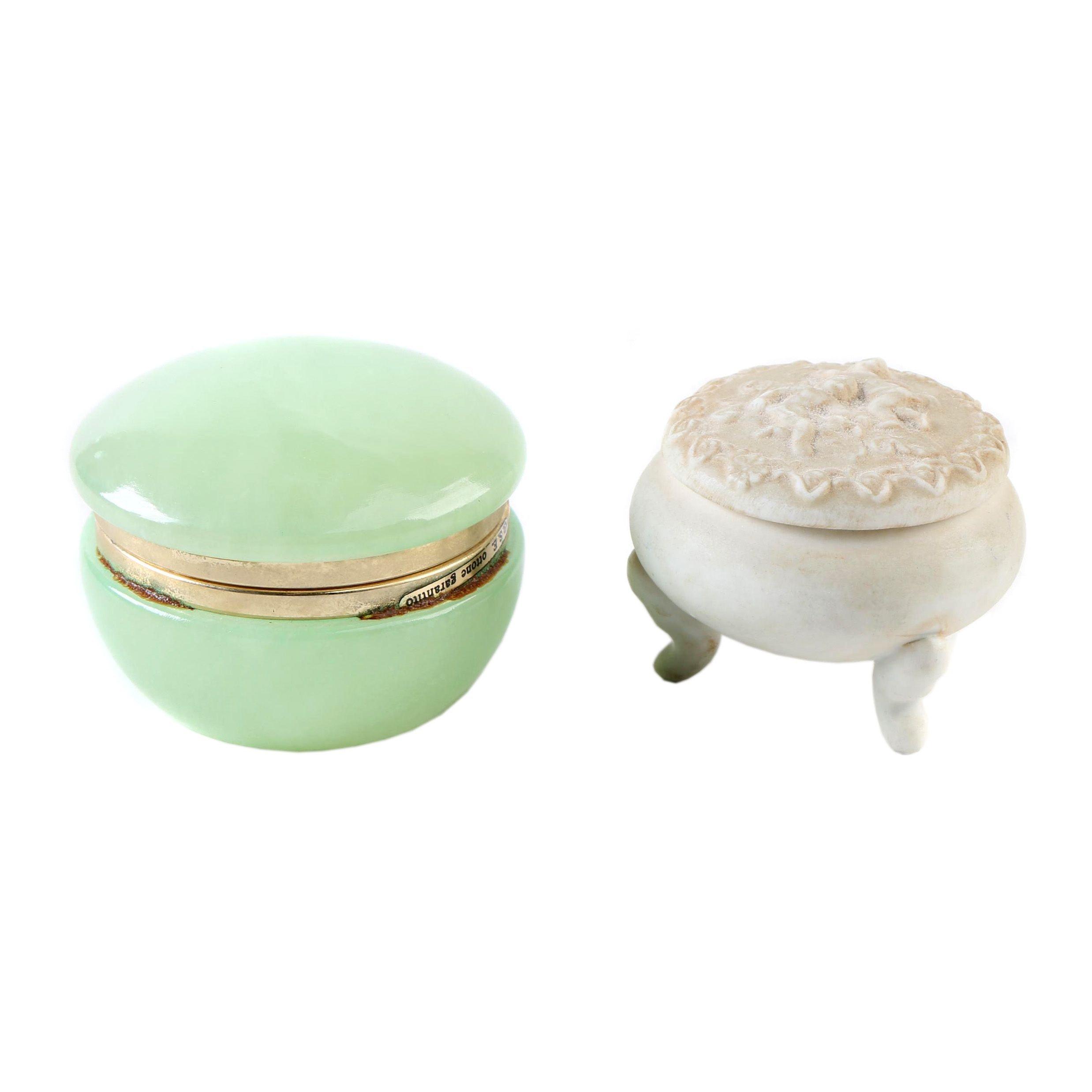 Italian GSW Ottone Garanito Trinket Box and Lefton Porcelain Trinket Box